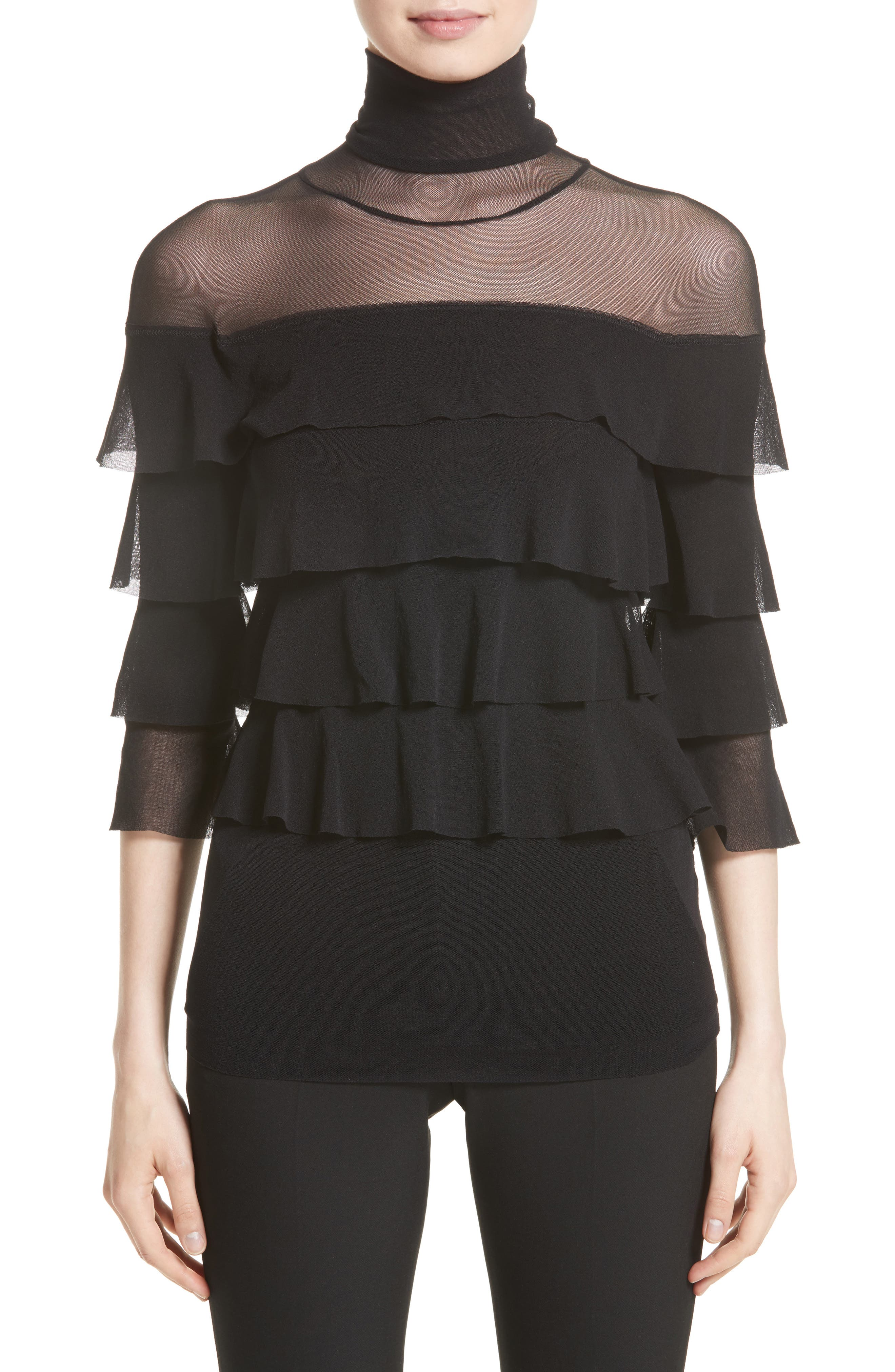 Ruffle Tiered Tulle Top,                         Main,                         color, Nero