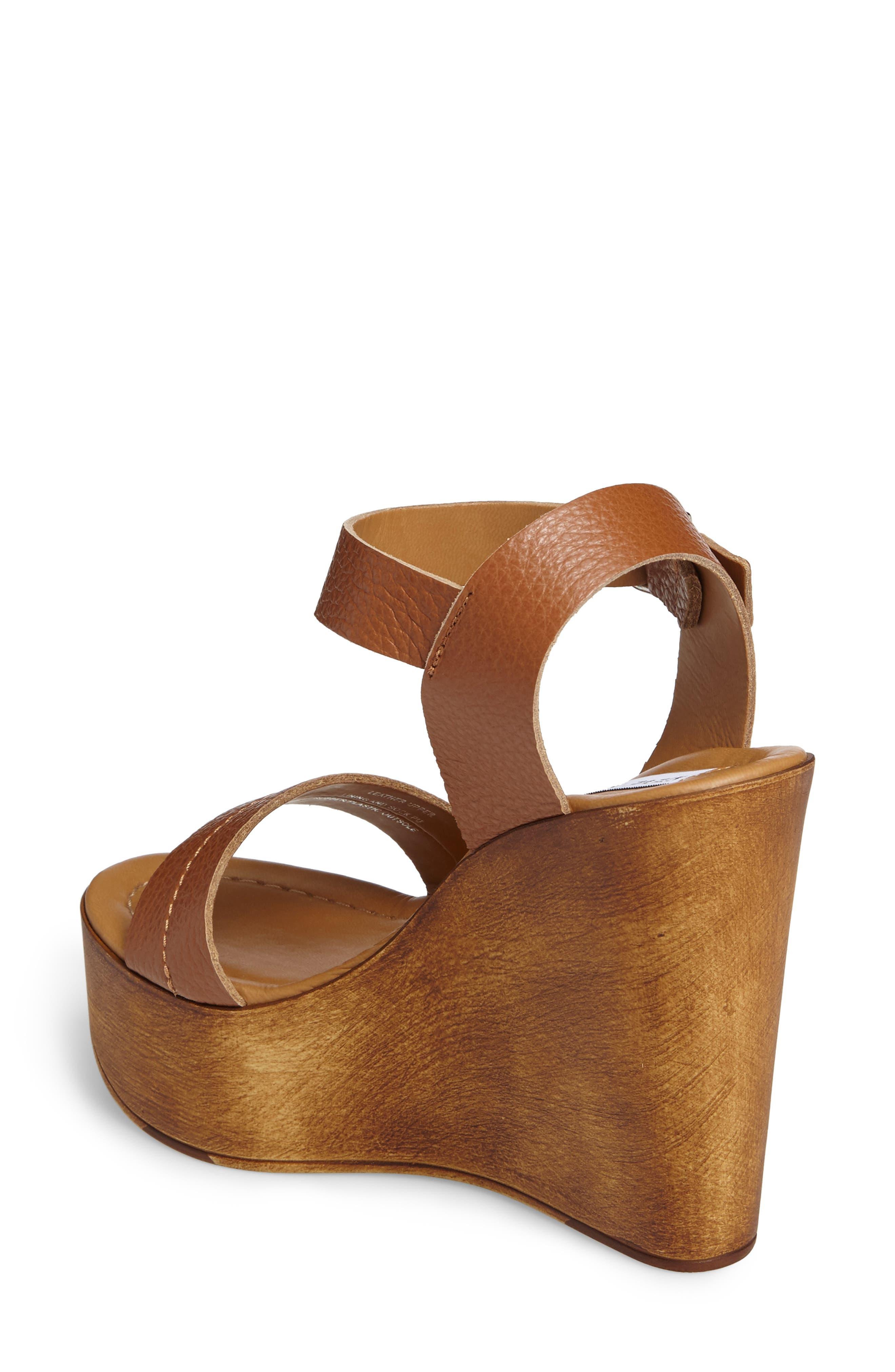 Belma Wedge Sandal,                             Alternate thumbnail 2, color,                             Tan Leather
