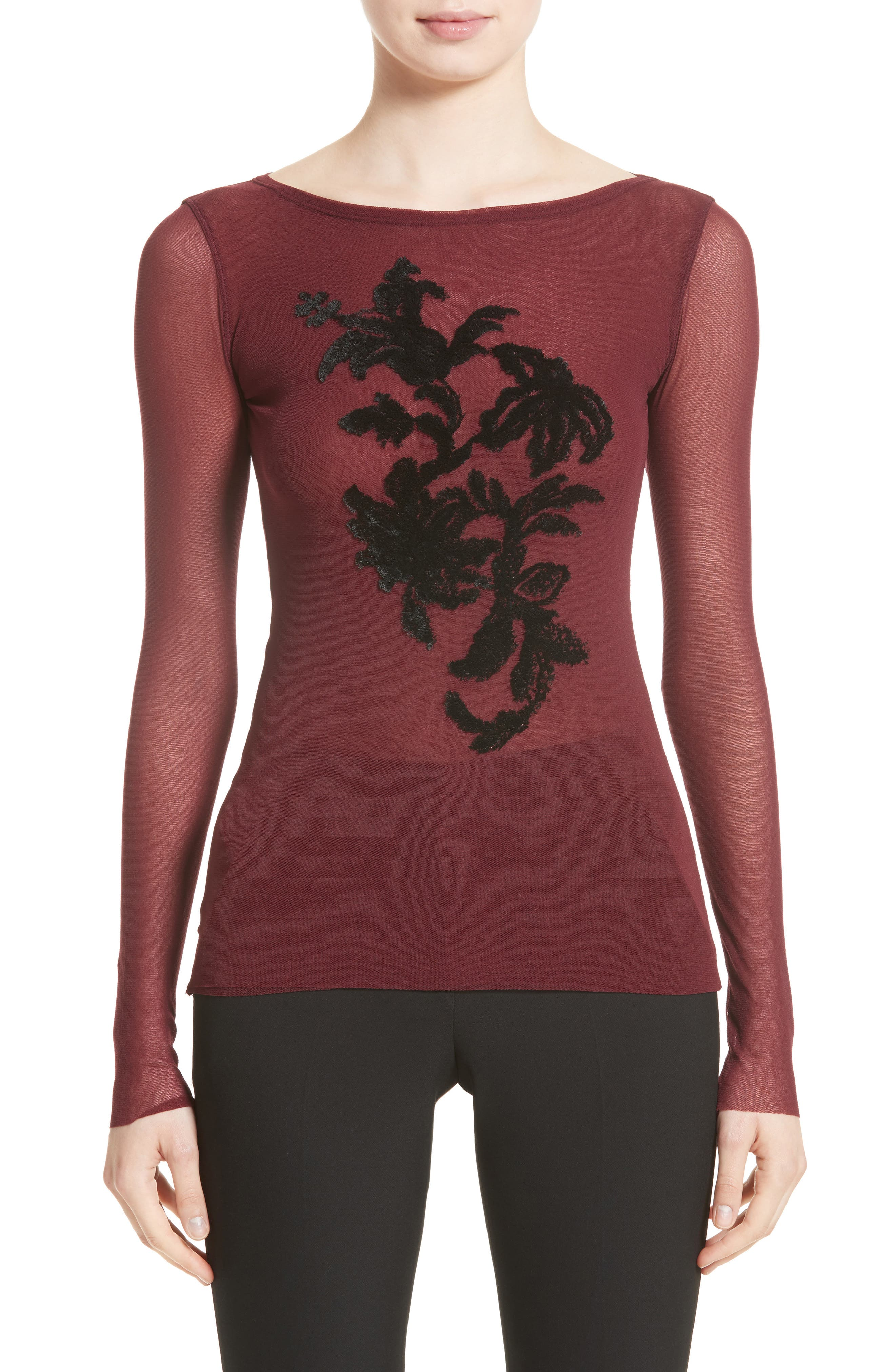 Alternate Image 1 Selected - Fuzzi Embroidered Tulle Top