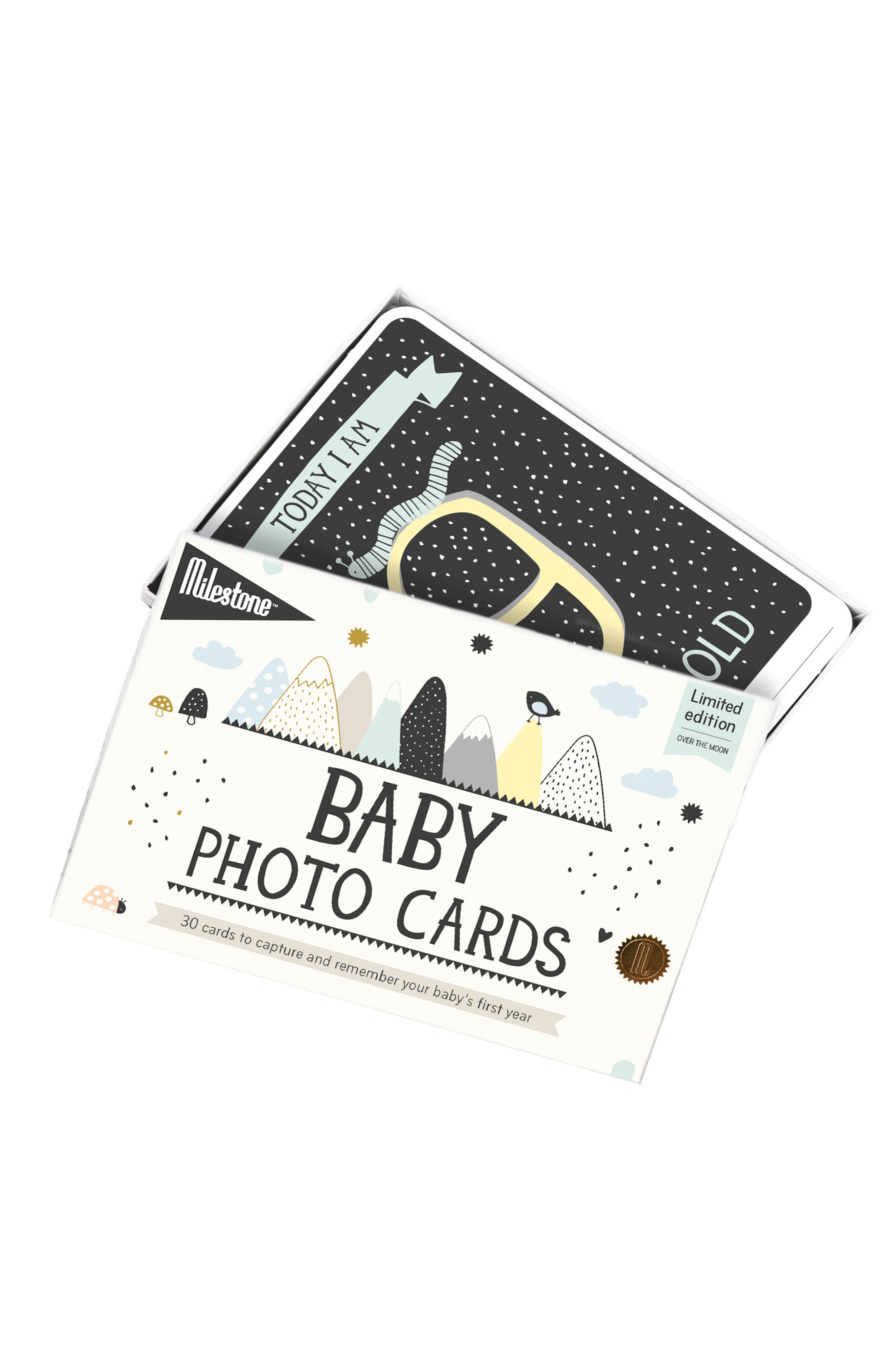 Milestone Set of 30 Baby's First Year Illustrated Cards,                         Main,                         color, White