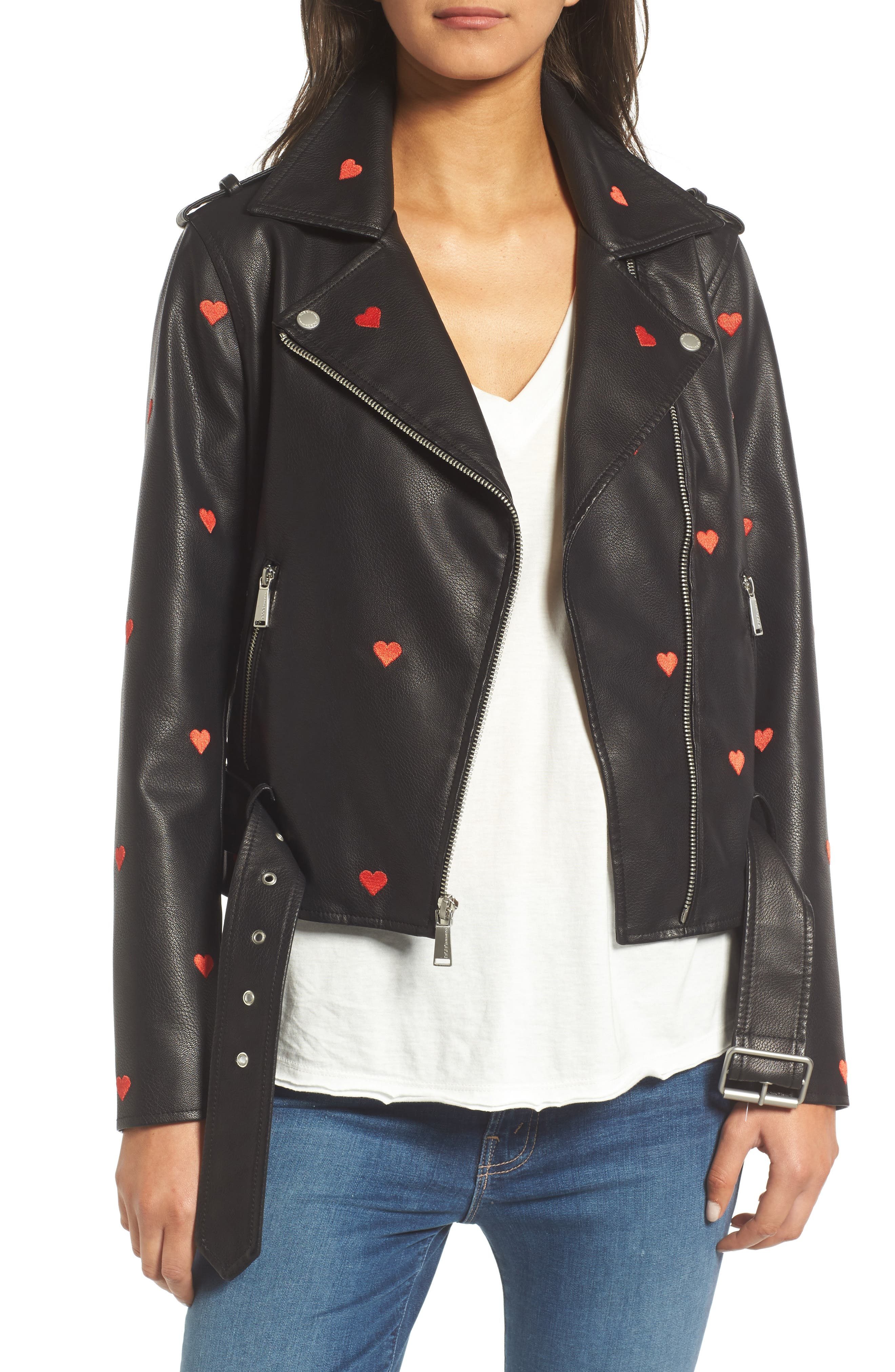 Heart Embroidered Faux Leather Moto Jacket,                             Main thumbnail 1, color,                             Black