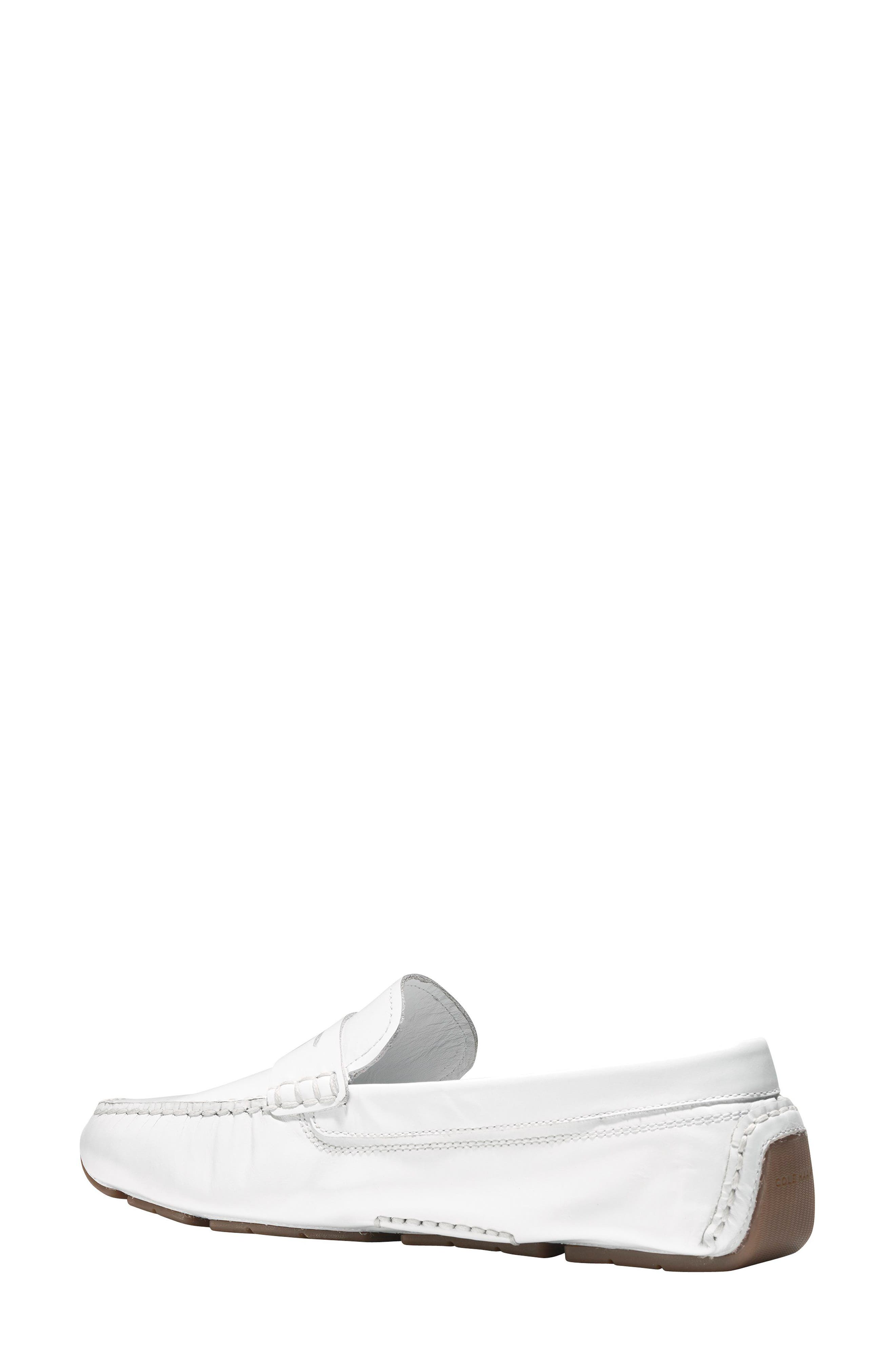 Rodeo Penny Driving Loafer,                             Alternate thumbnail 2, color,                             Optic White Leather
