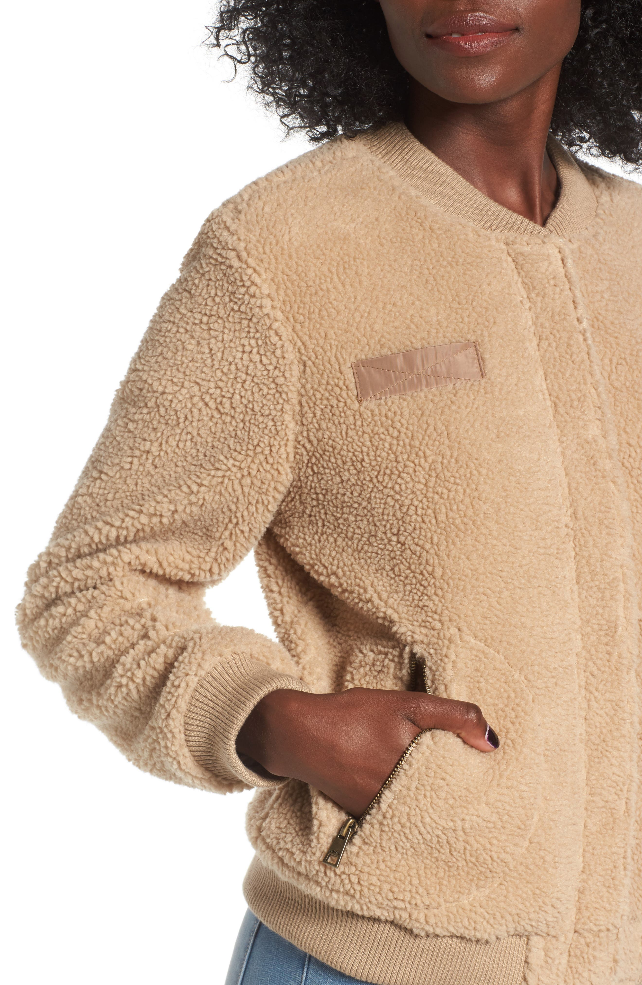 Faux Shearling Bomber Jacket,                             Alternate thumbnail 4, color,                             Camel