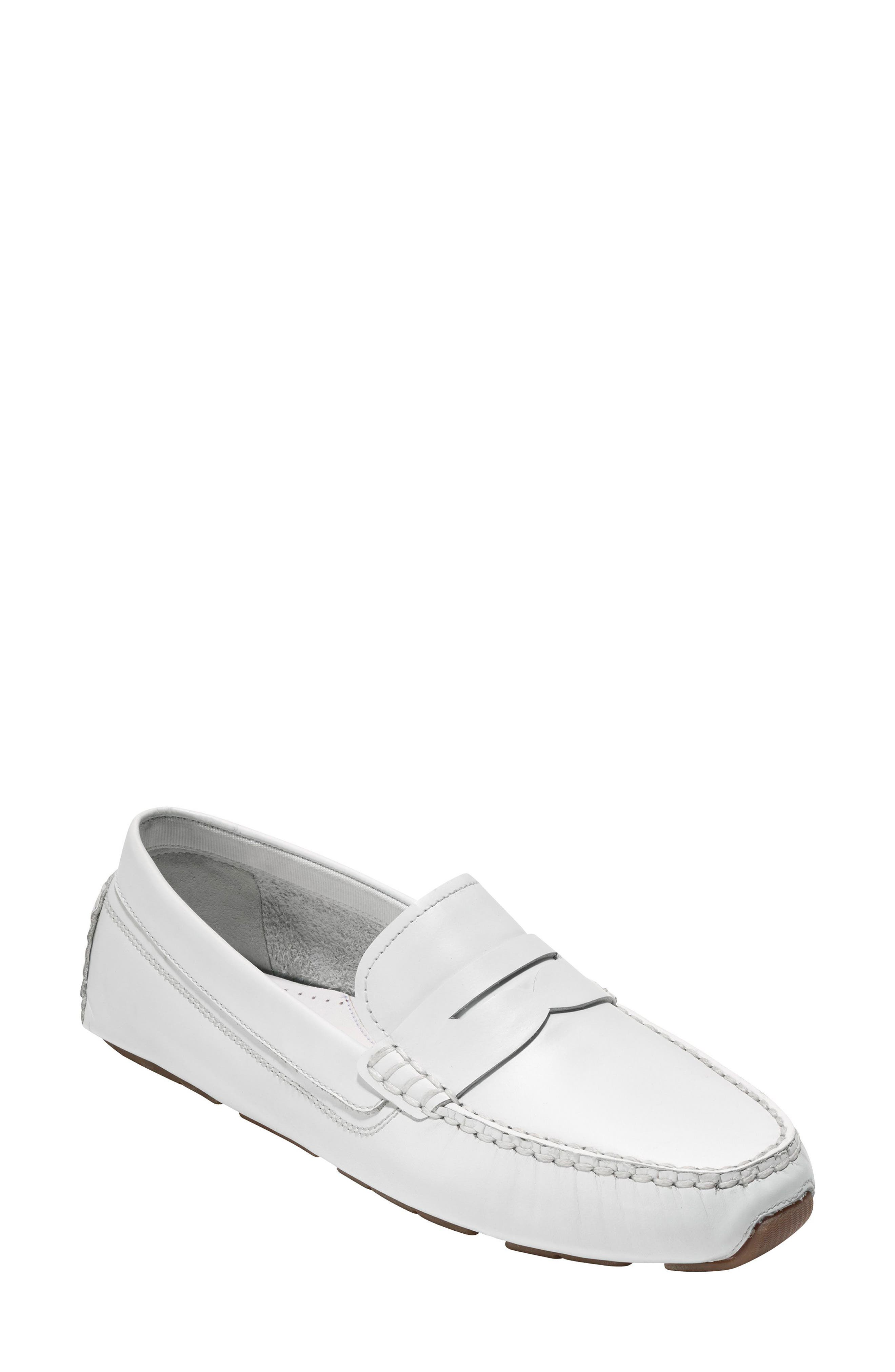 Rodeo Penny Driving Loafer,                         Main,                         color, Optic White Leather