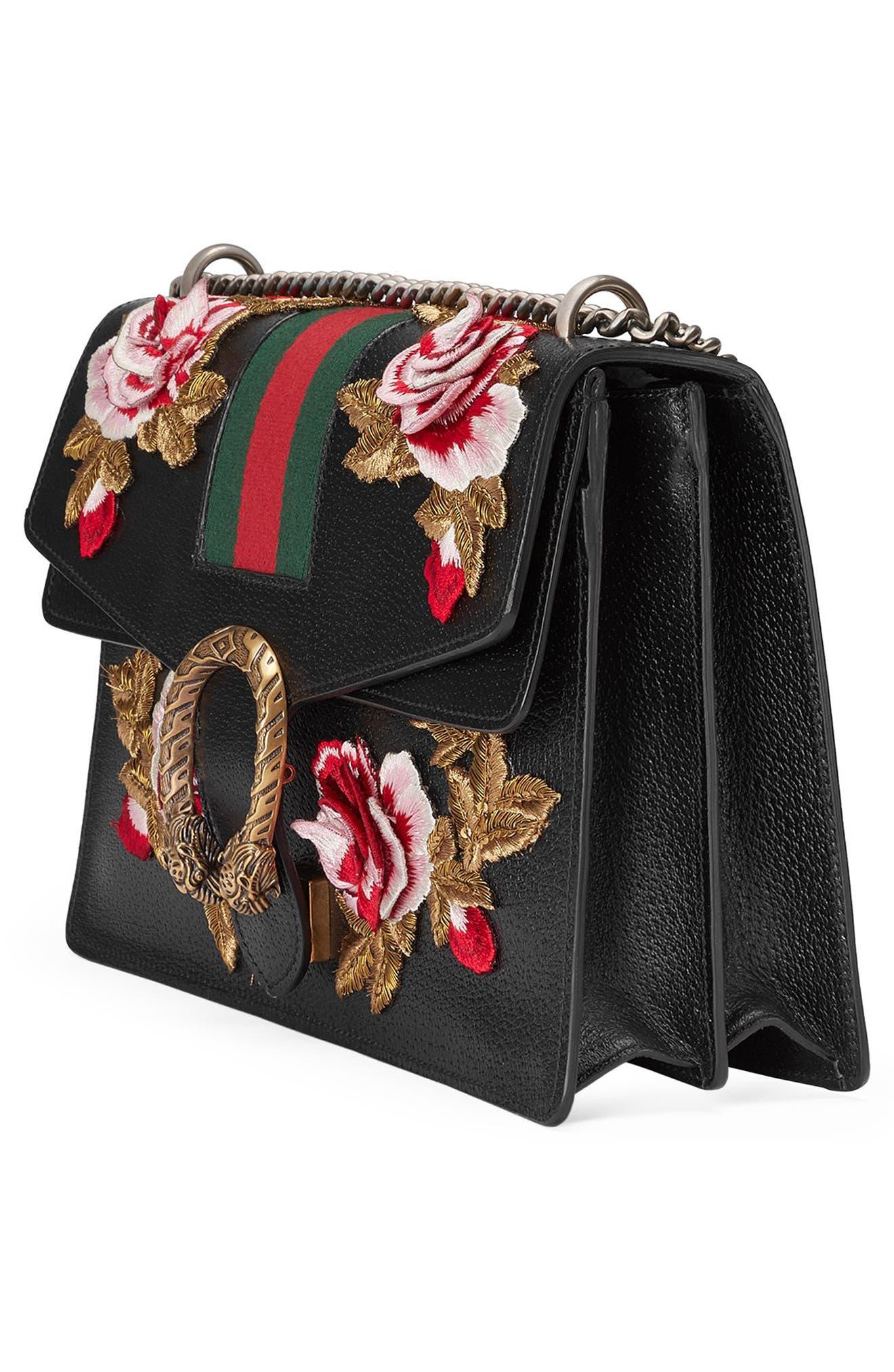 Medium Dionysus Embroidered Roses Leather Shoulder Bag,                             Alternate thumbnail 4, color,                             Nero/Multi