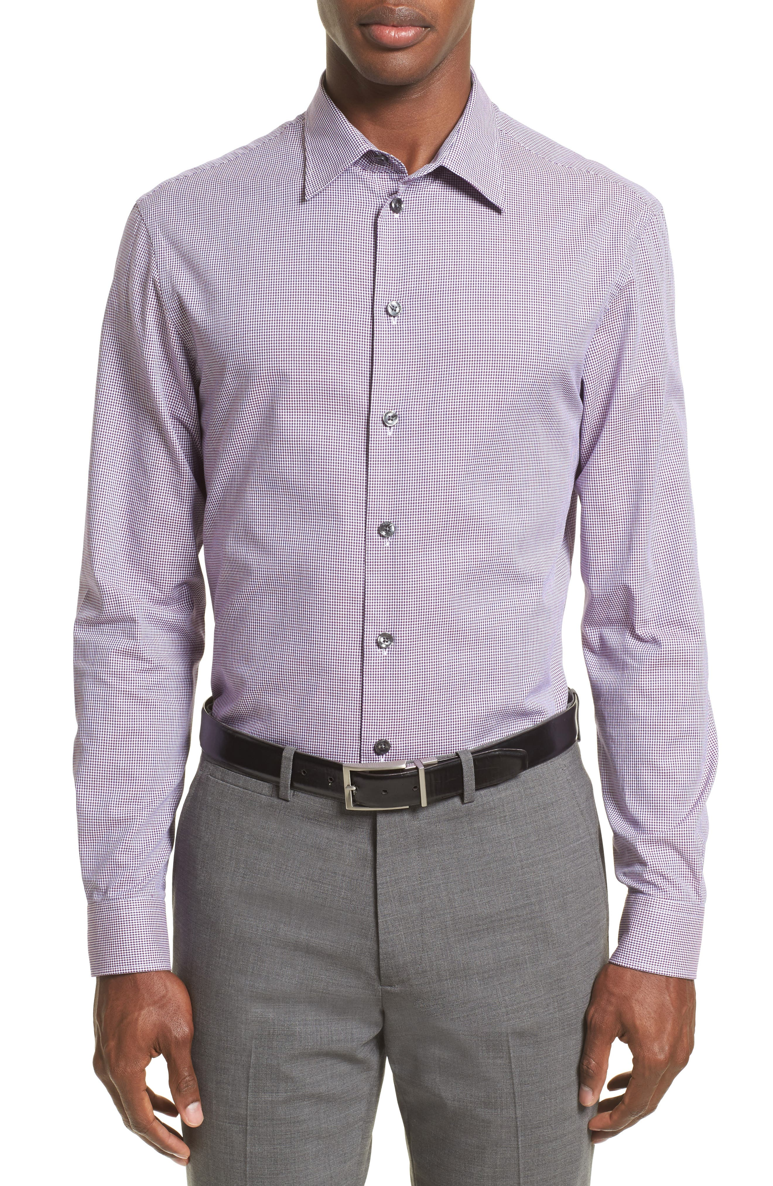 Regular Fit Houndstooth Sport Shirt,                             Main thumbnail 1, color,                             Anthracite/ Purple