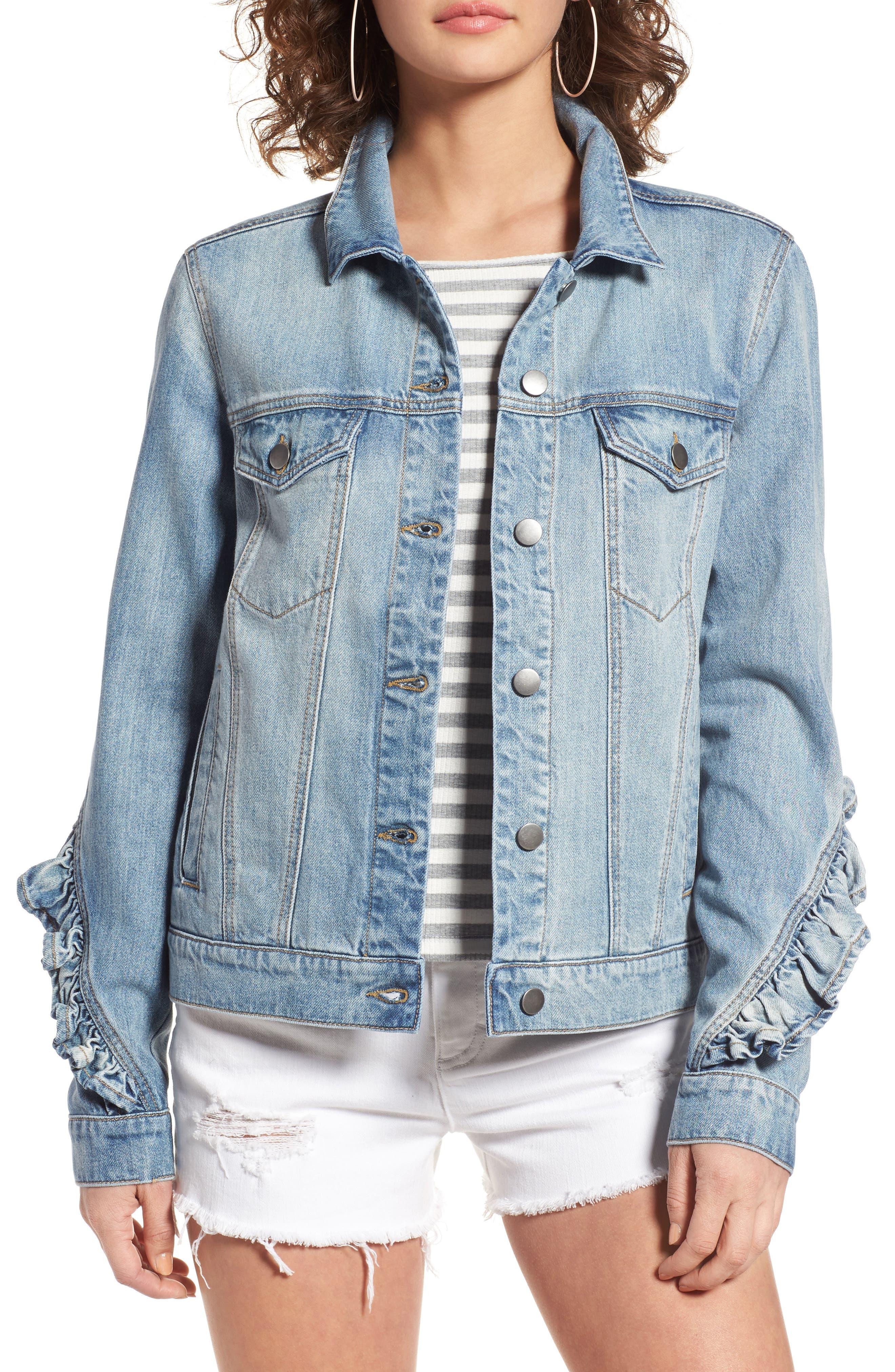 Ruffle Denim Jacket,                         Main,                         color, Austin Wash