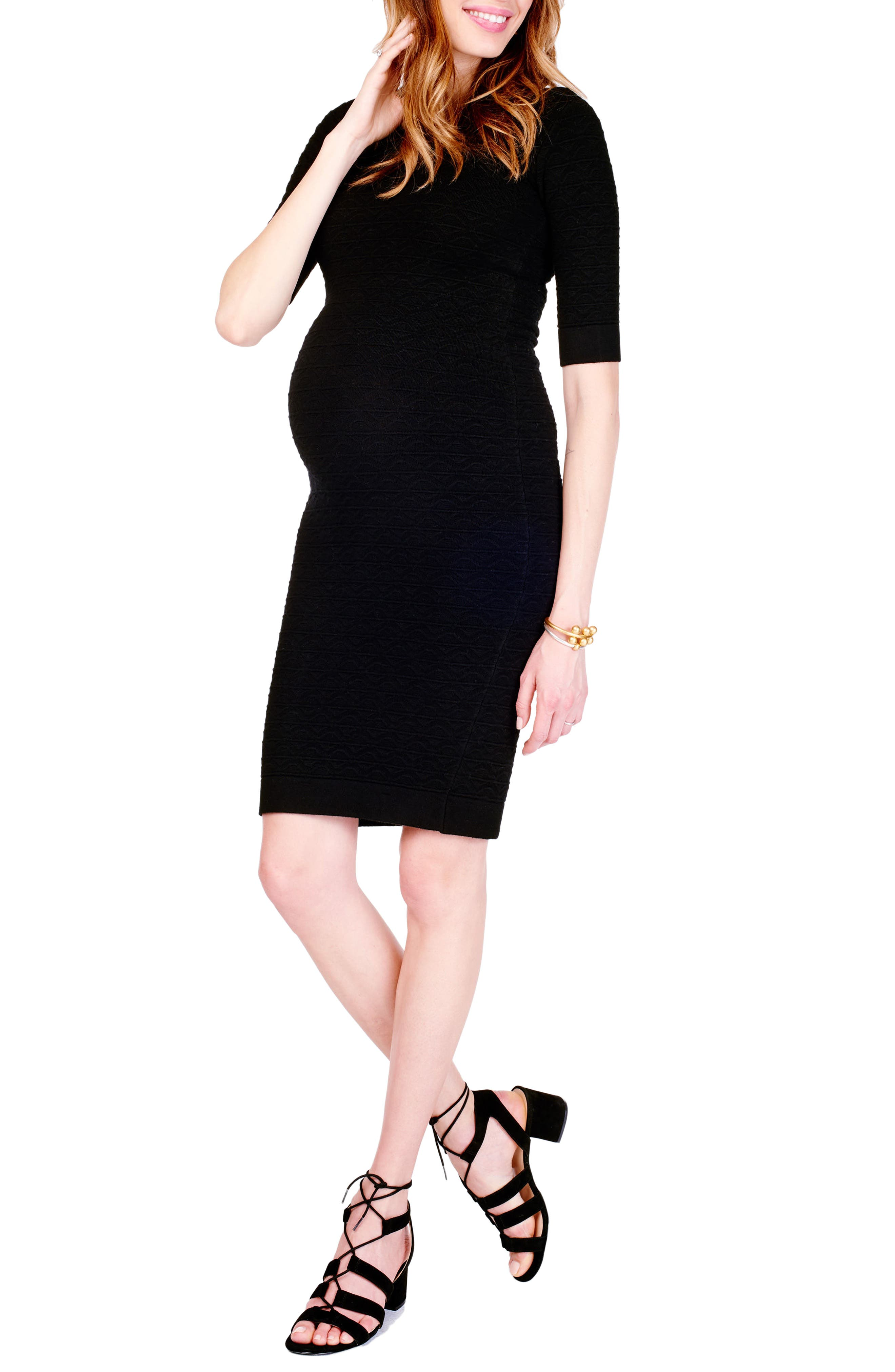 Sweater Knit Maternity Sheath Dress,                         Main,                         color, Jet Black