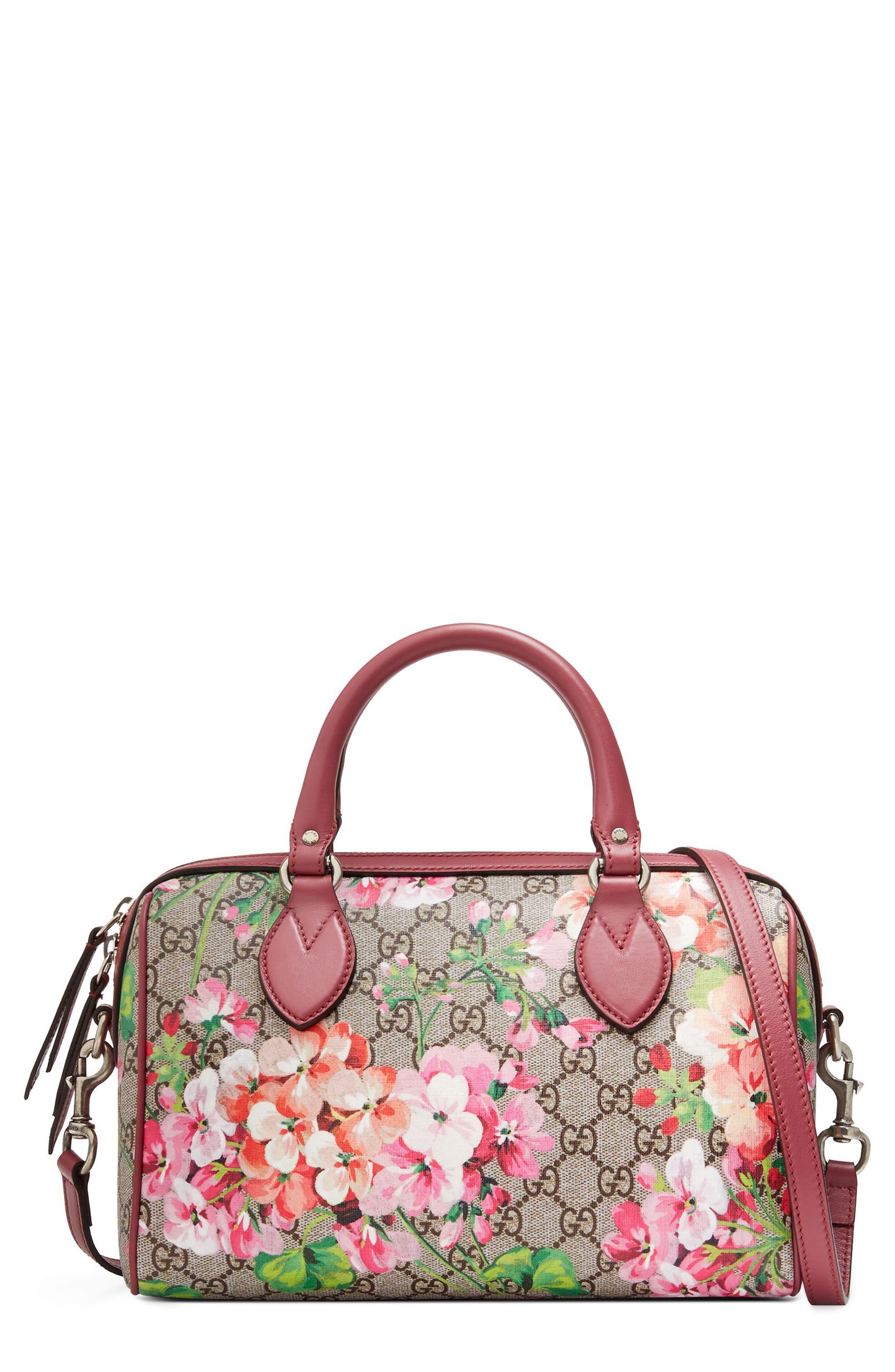 Main Image - Gucci Small Blooms Top Handle GG Supreme Canvas Bag