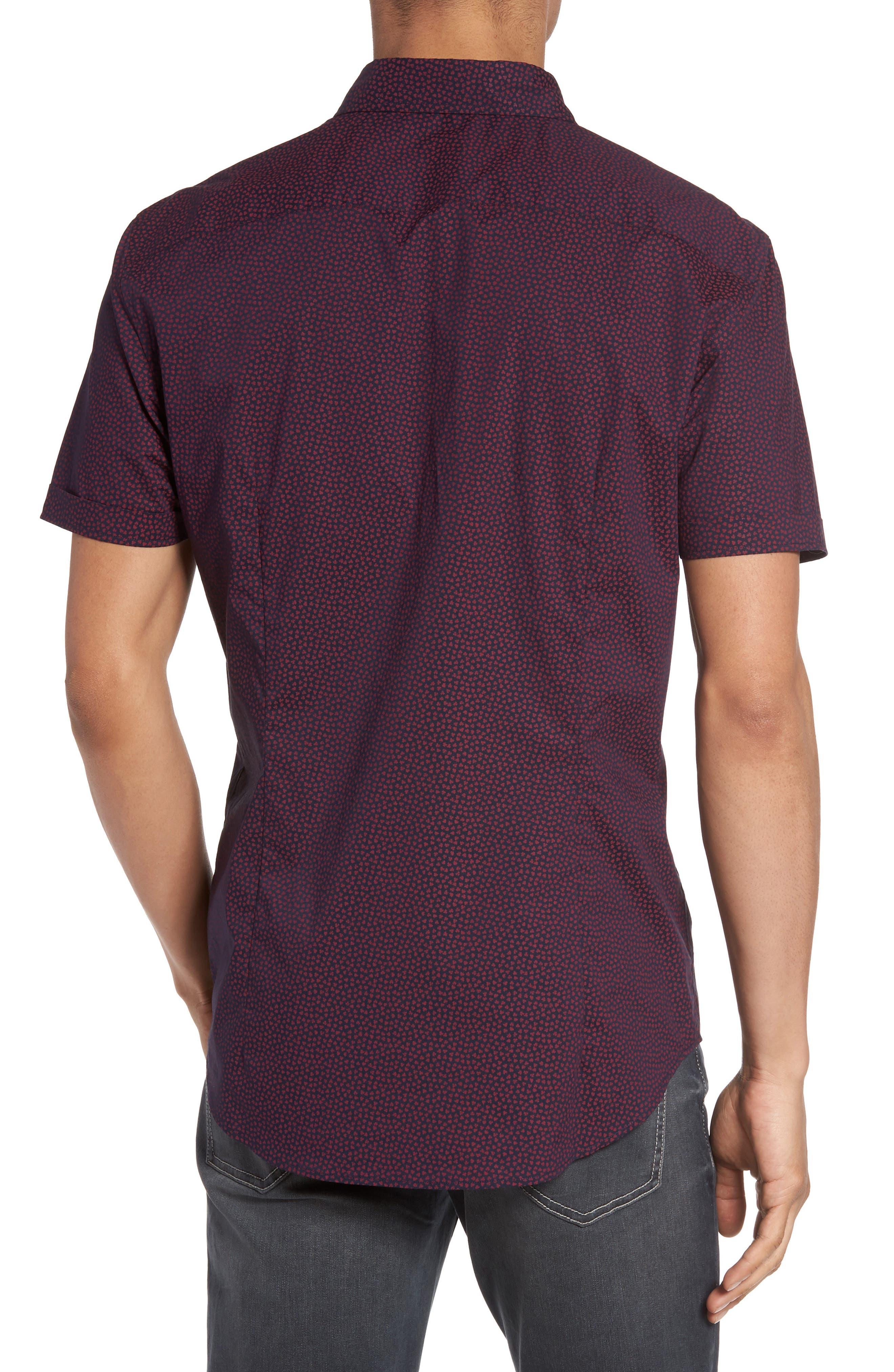 Trim Fit Print Sport Shirt,                             Alternate thumbnail 2, color,                             Cherry