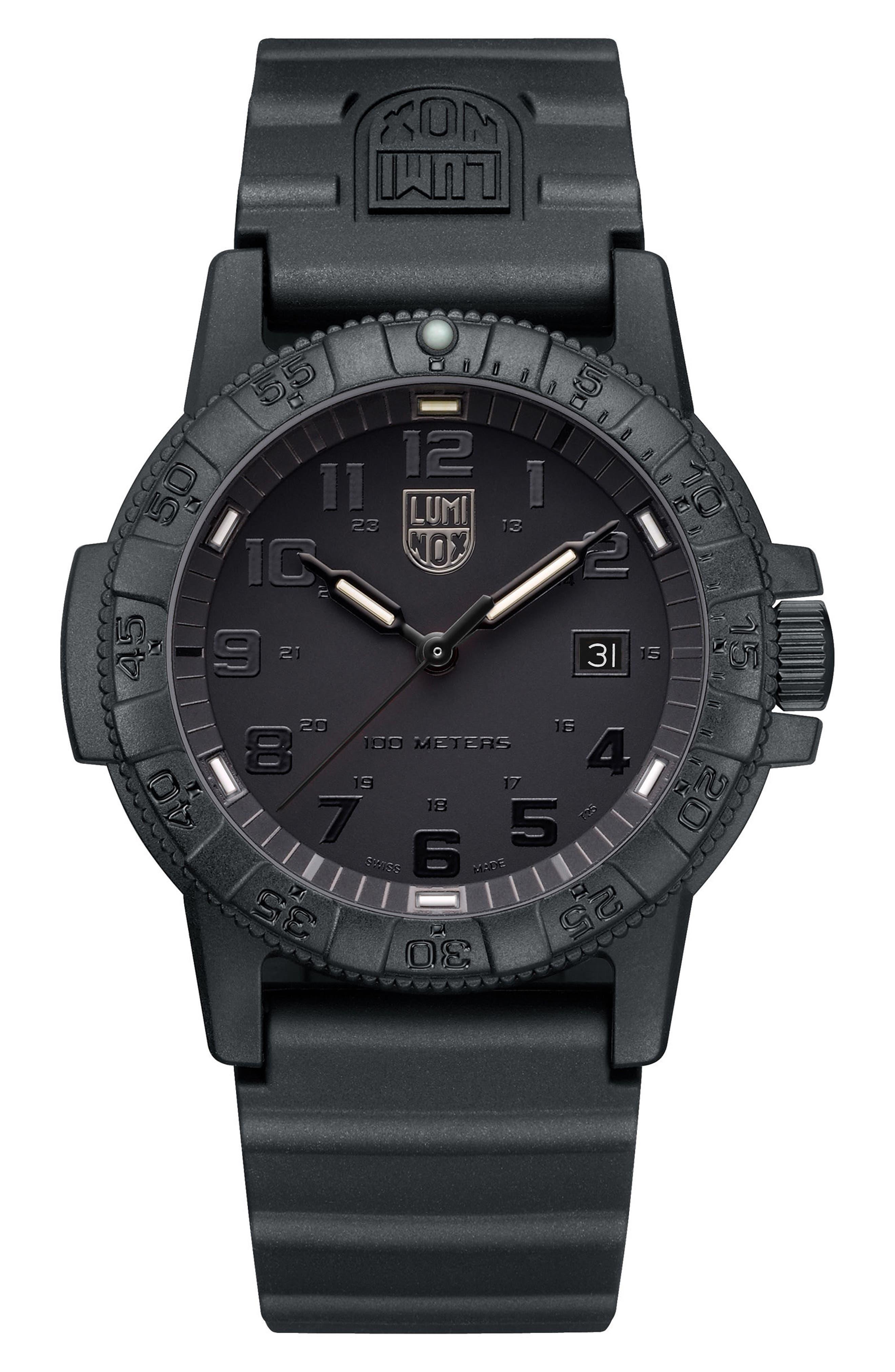 Sea Turtle 0320 Polyurethane Strap Watch, 44mm,                         Main,                         color, Black/ Black
