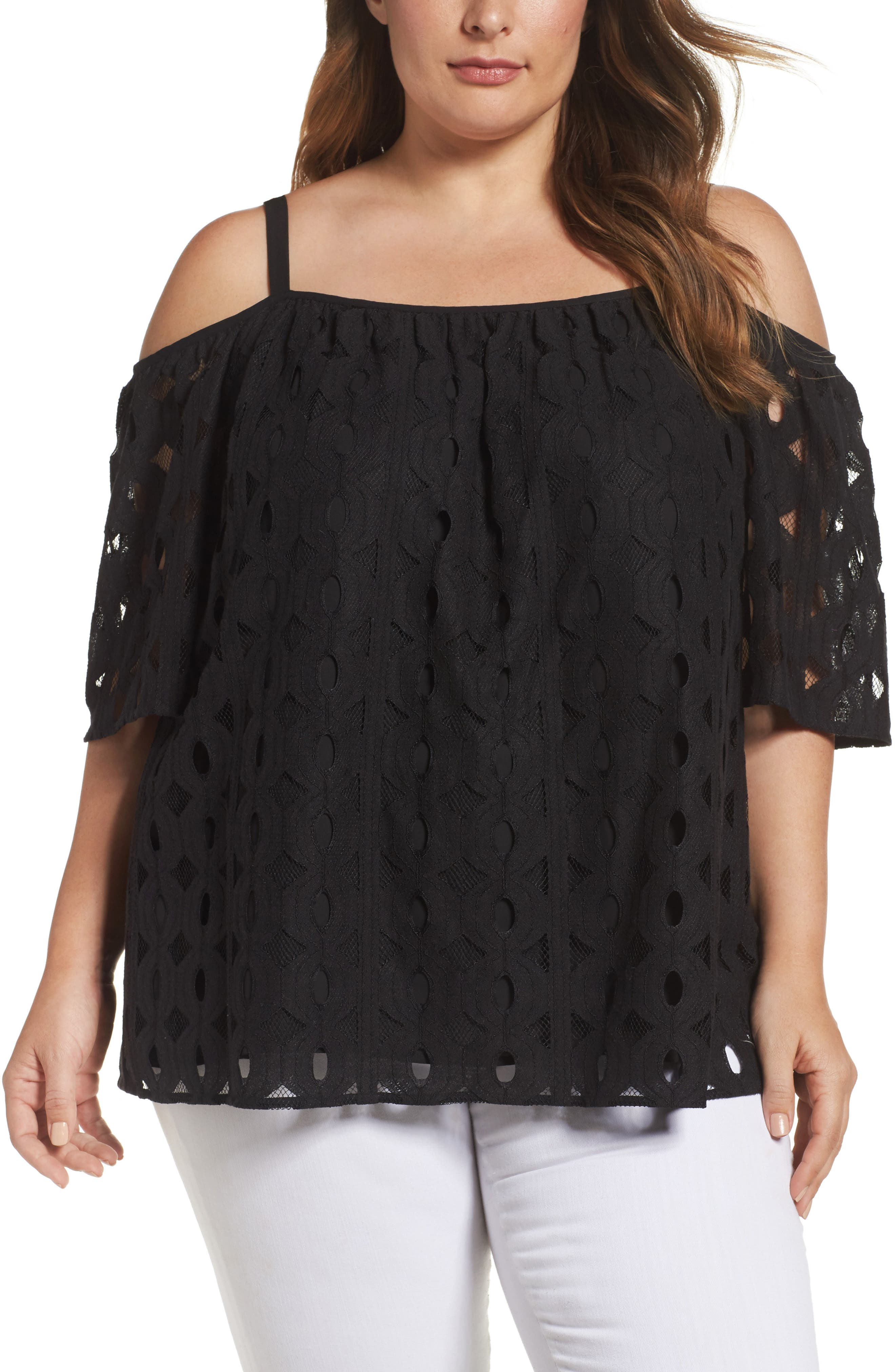 Cable Lace Off the Shoulder Top,                         Main,                         color, Rich Black