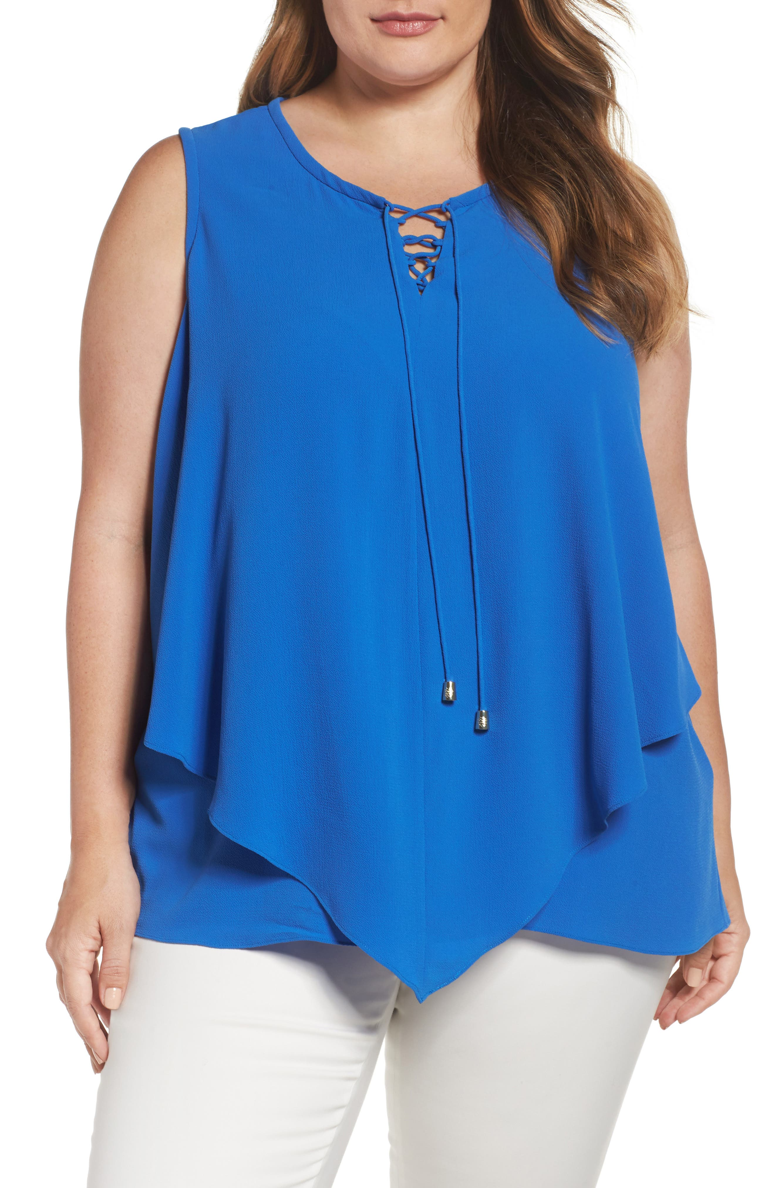 Alternate Image 1 Selected - Vince Camuto Lace-Up Handkerchief Top (Plus Size)