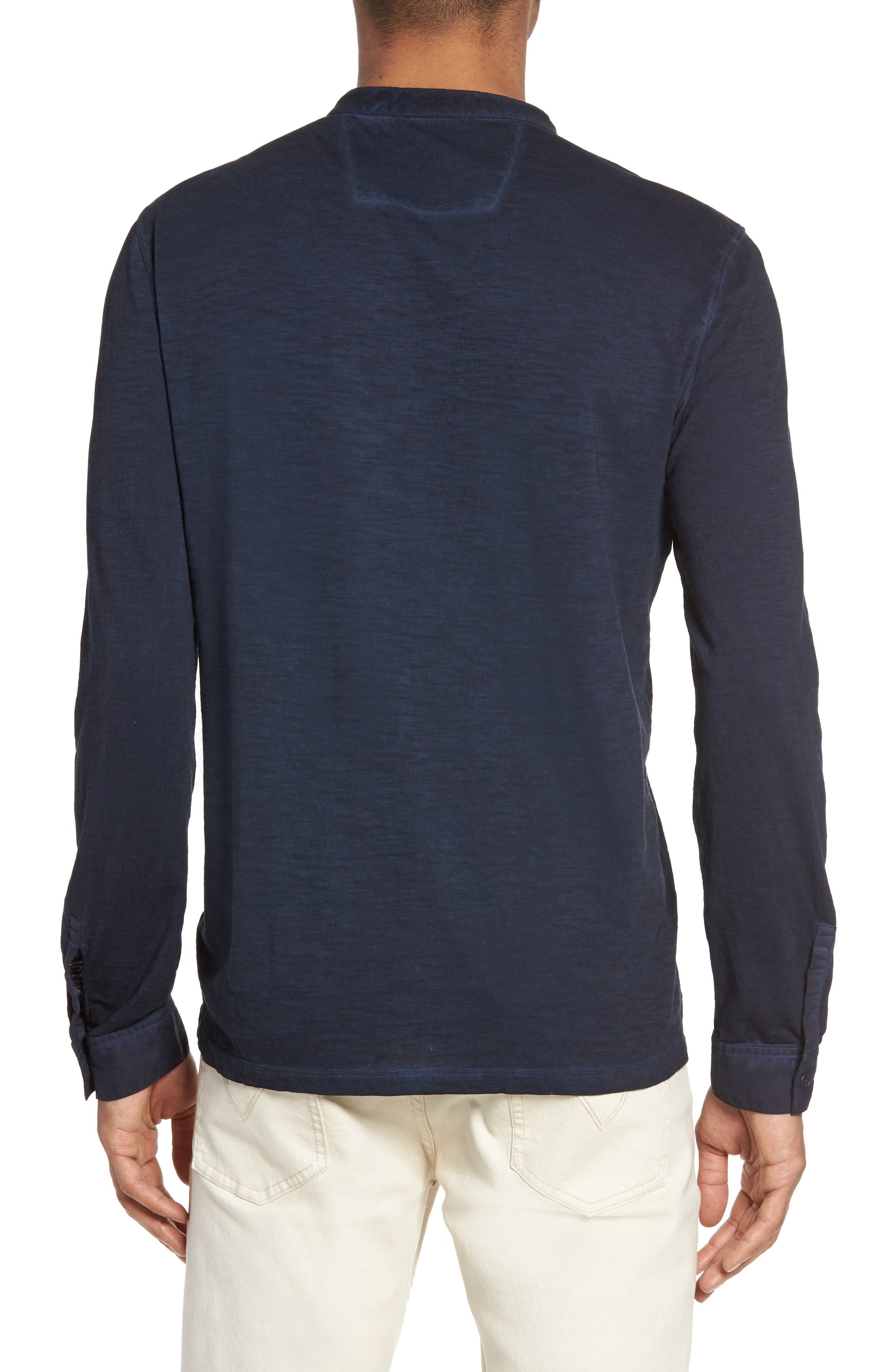 Long Sleeve Cotton Henley,                             Alternate thumbnail 2, color,                             Midnight