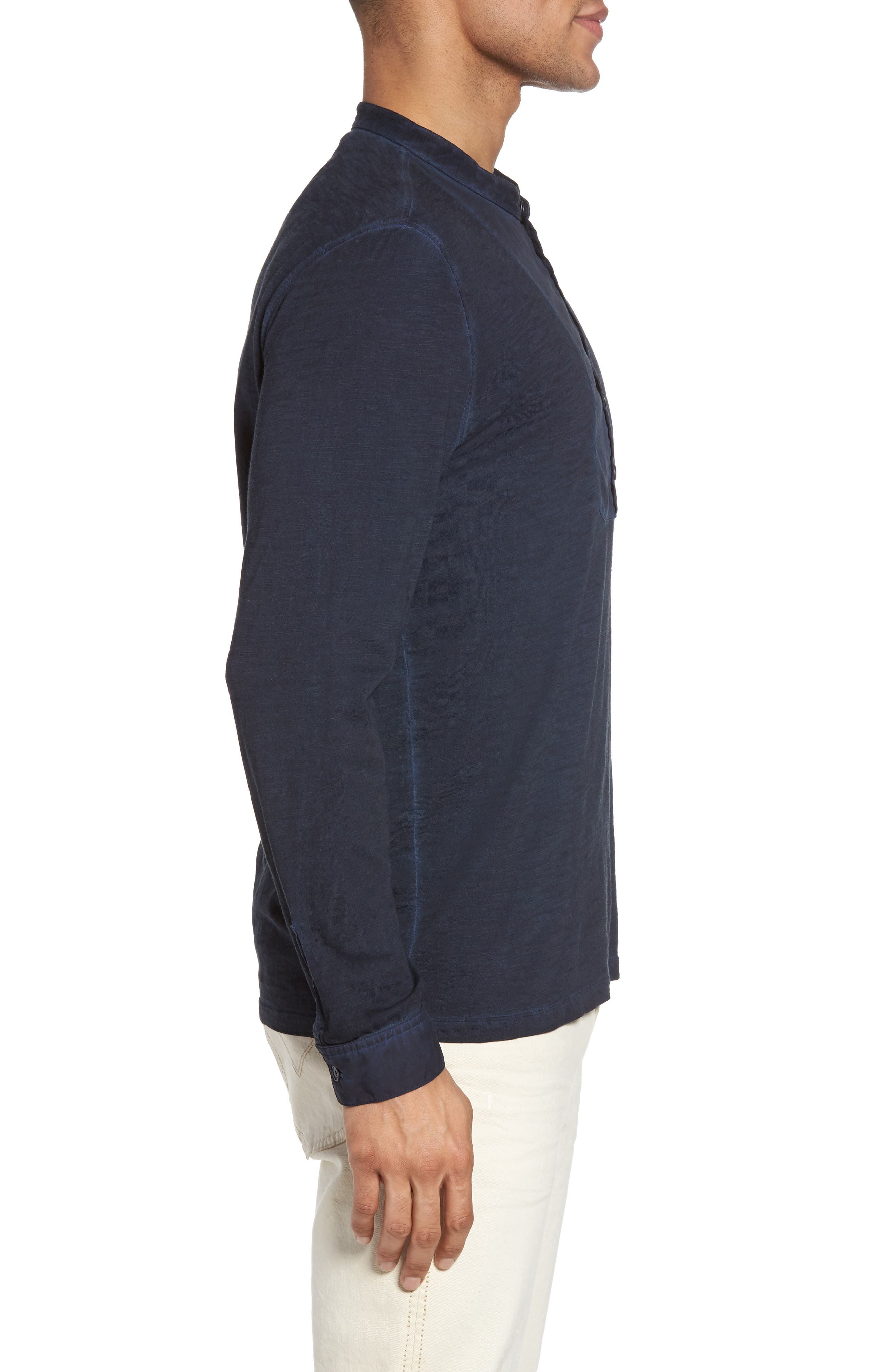 Long Sleeve Cotton Henley,                             Alternate thumbnail 3, color,                             Midnight