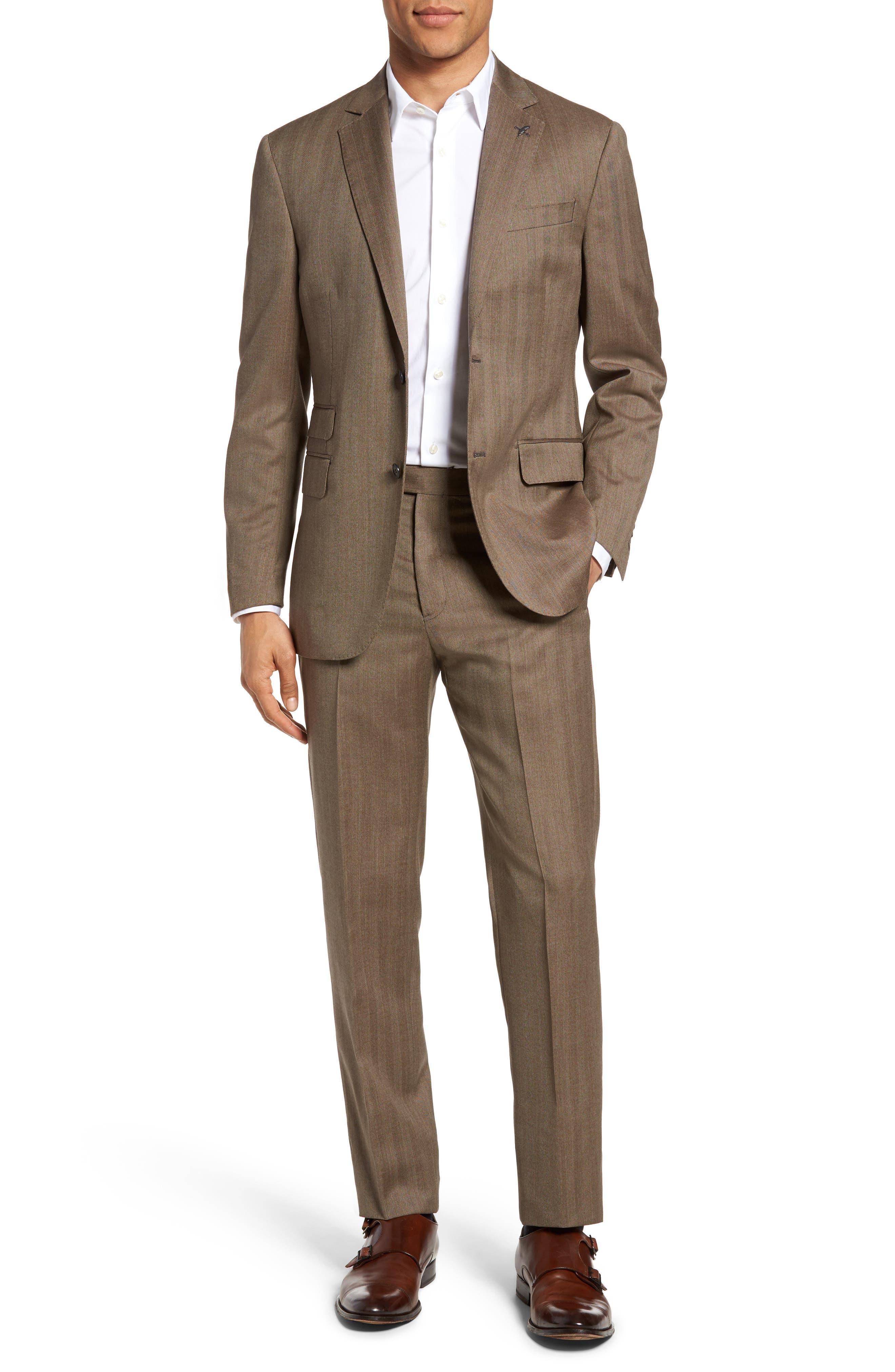 Michael Bastian Classic Fit Herringbone Wool Suit