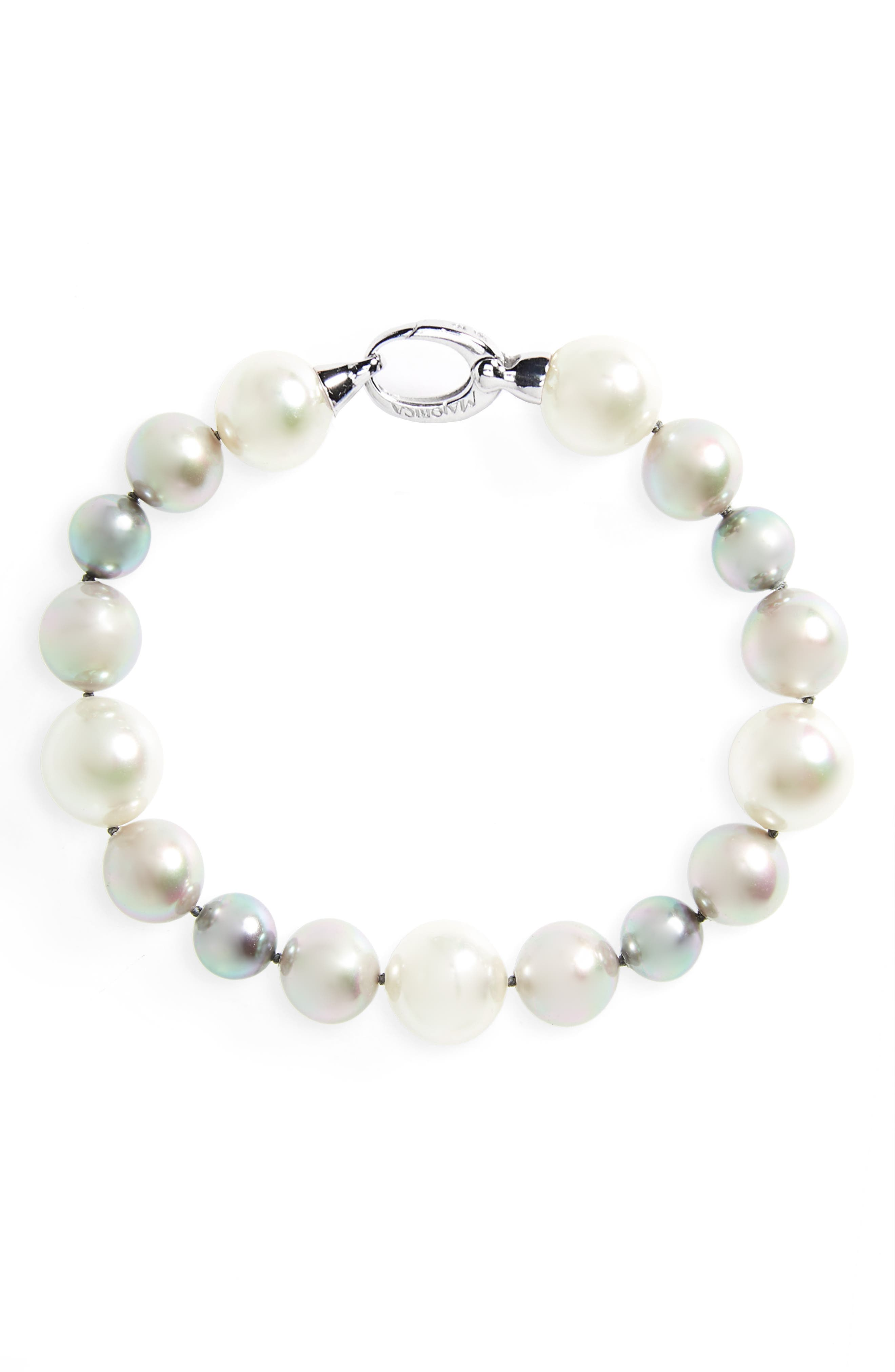 Simulated Pearl Strand Bracelet,                         Main,                         color, Grey