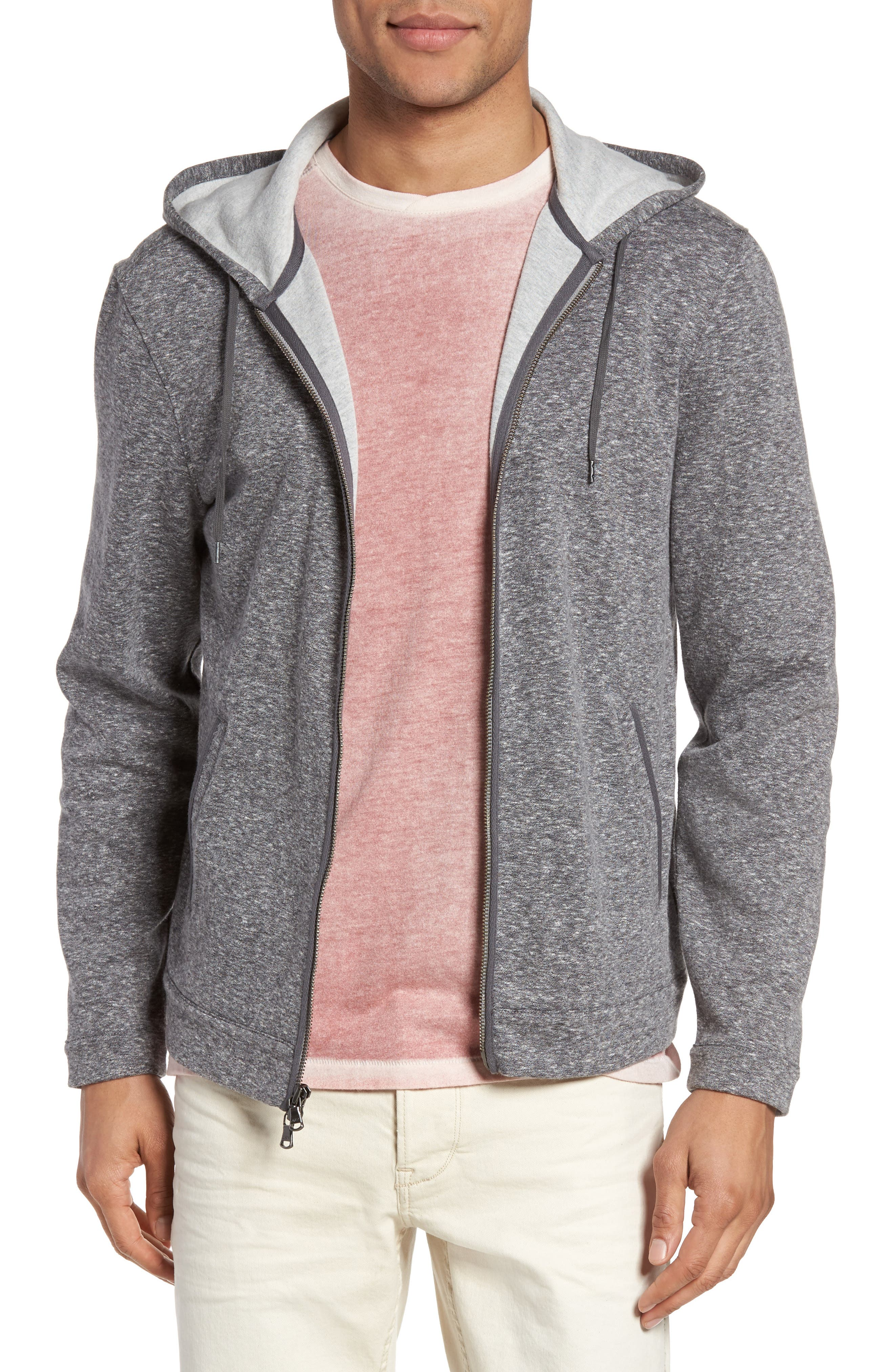 Zip Front Hoodie,                             Main thumbnail 1, color,                             Medium Grey