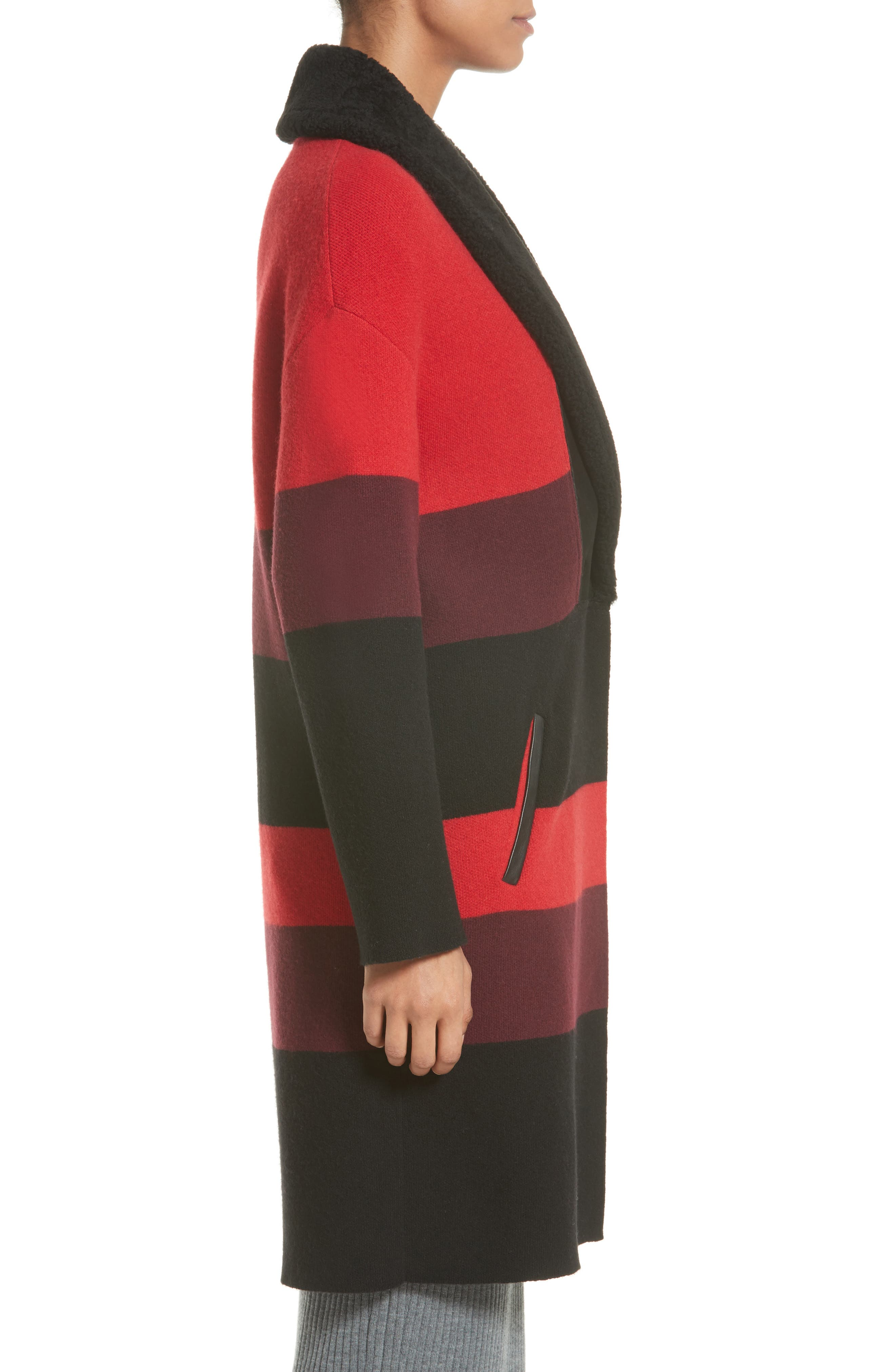 Double Knit Felted Wool Blend Coat with Genuine Shearling Collar,                             Alternate thumbnail 3, color,                             Caviar/ Sari Multi
