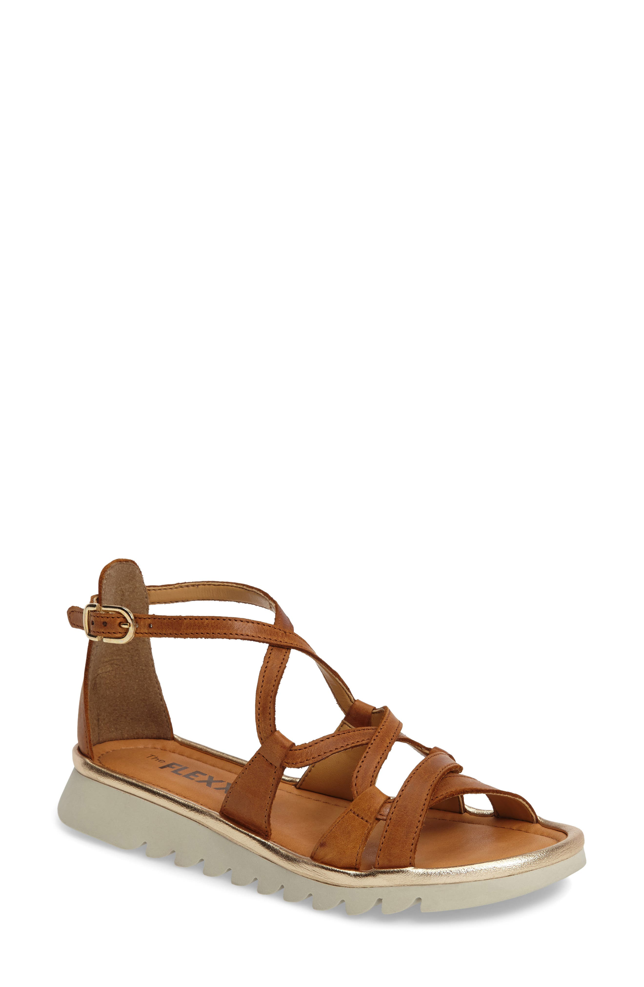 Catch a Wave Sandal,                         Main,                         color, Cognac Leather