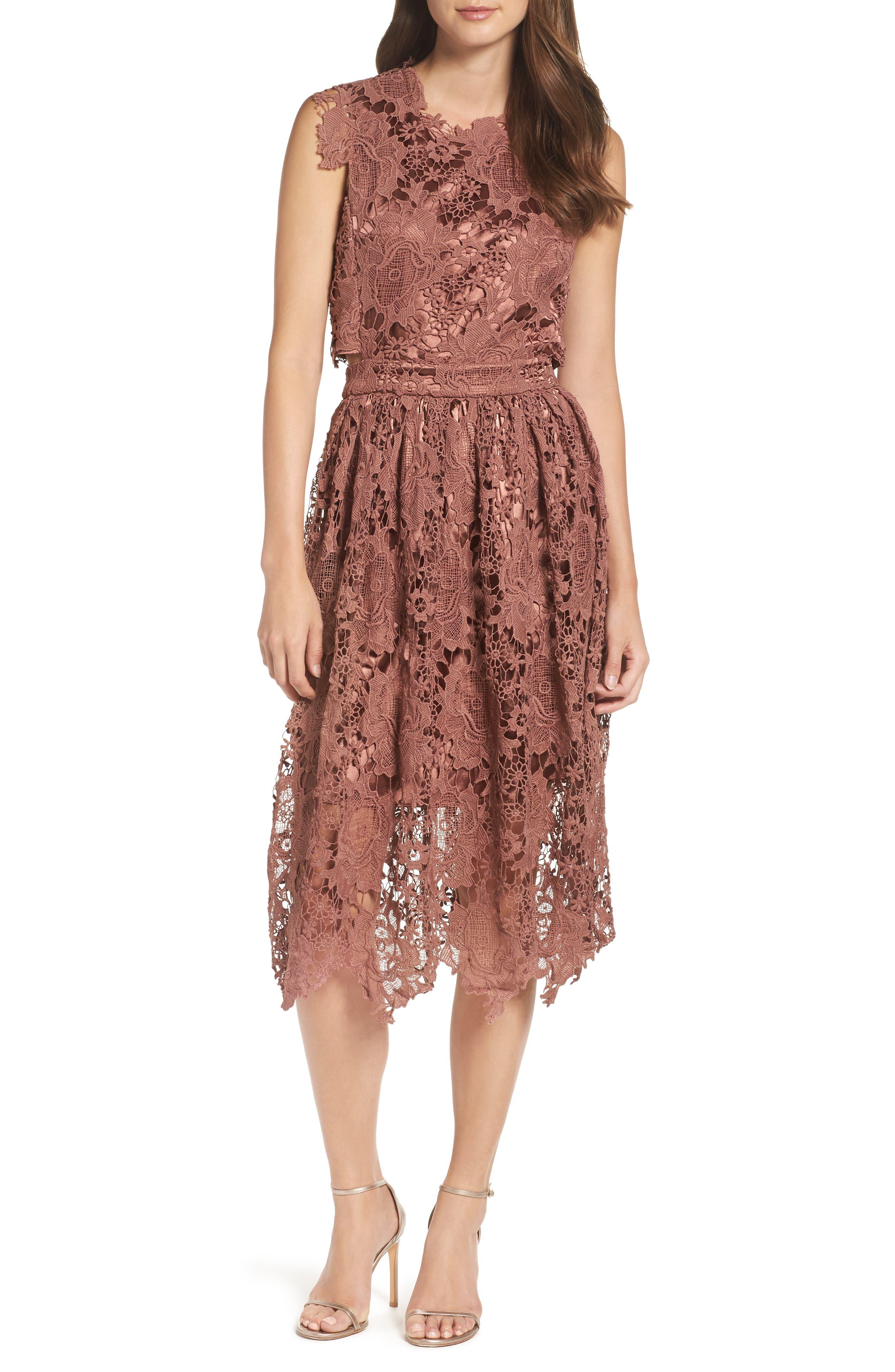 Lace Midi Dress,                             Main thumbnail 1, color,                             Rose