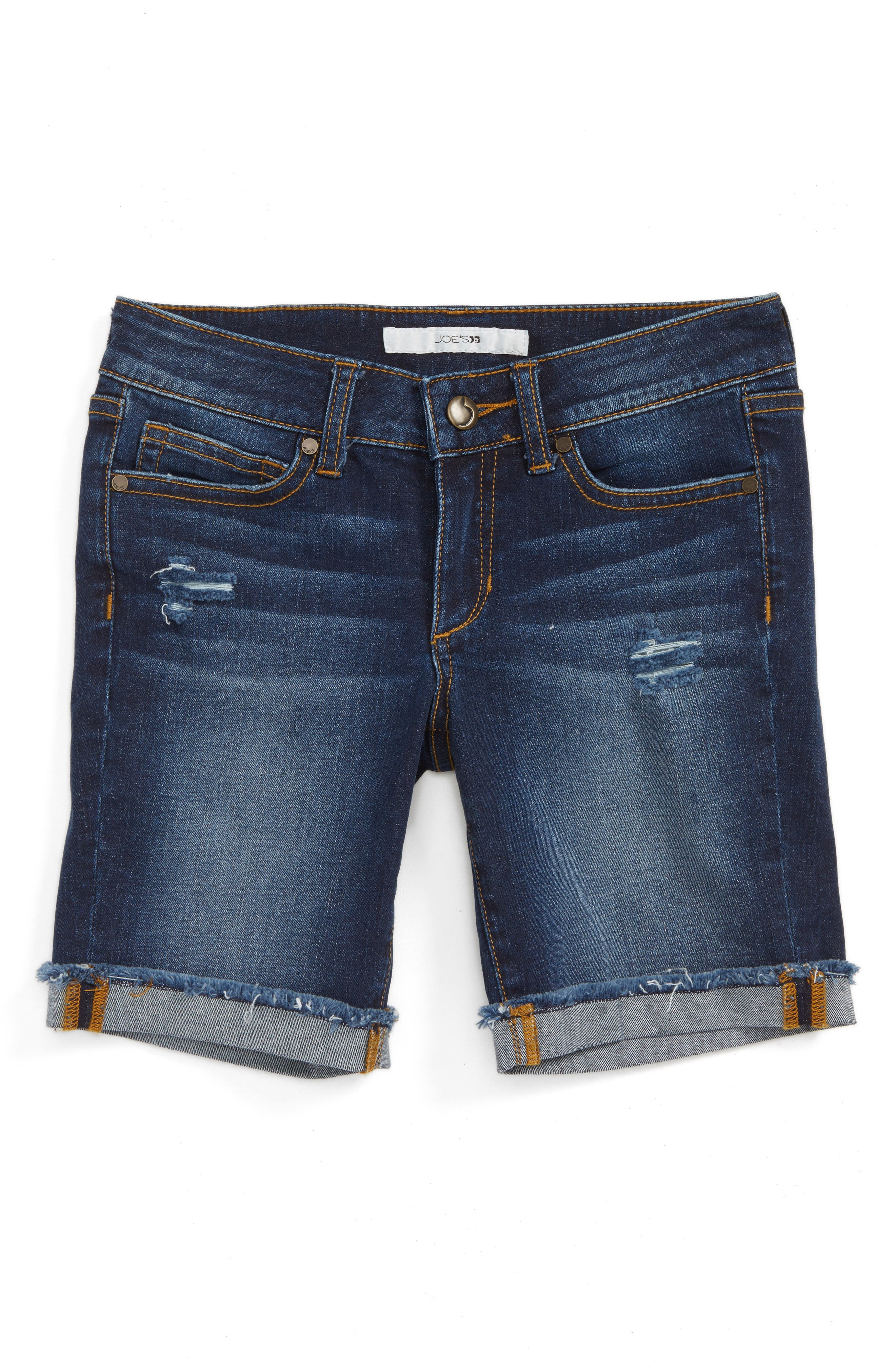 Joe's Frayed Roll Cuff Bermuda Shorts (Big Girls)