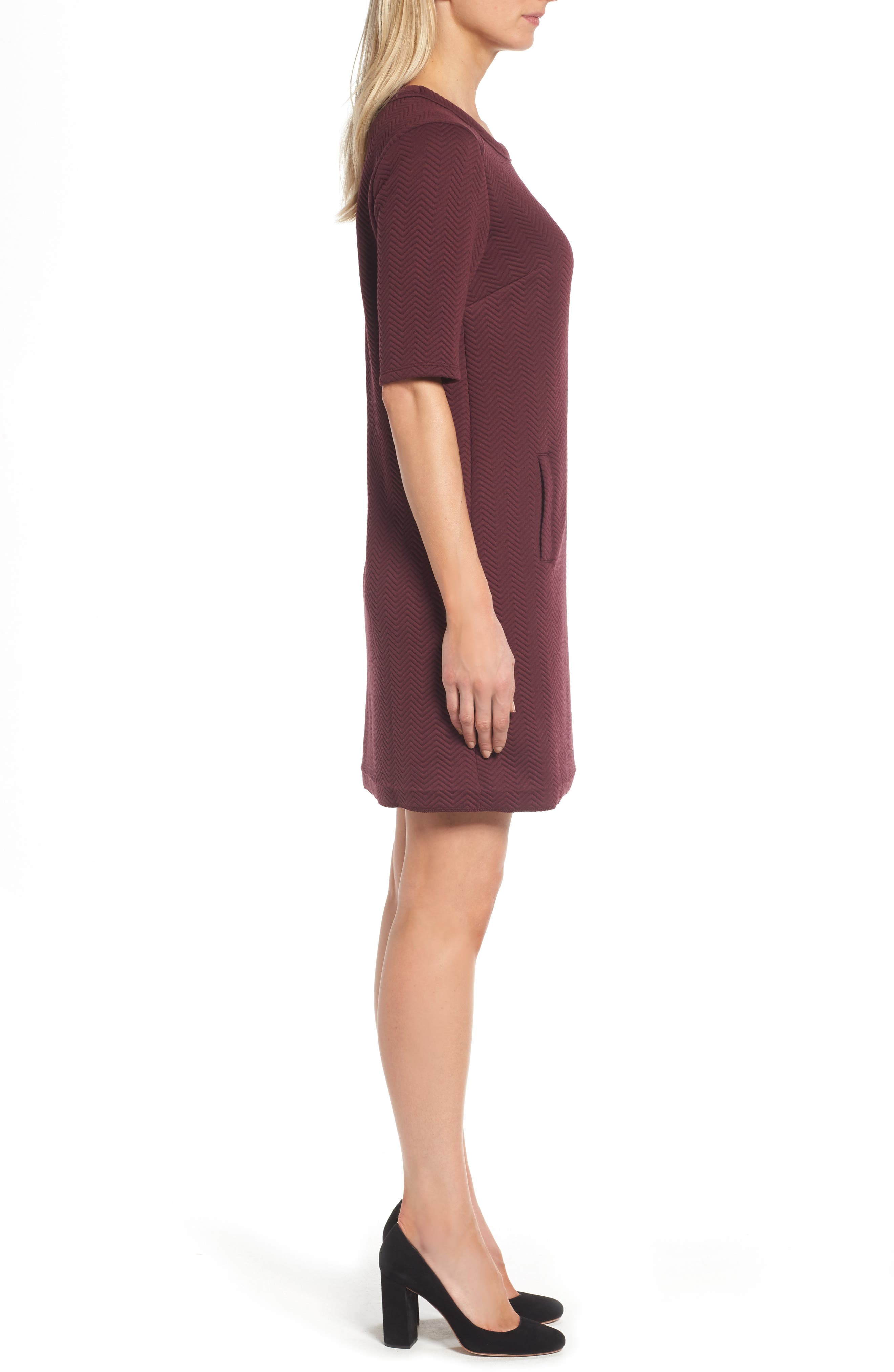 Alternate Image 3  - Halogen® Textured Elbow Sleeve Tunic Dress (Regular & Petite)