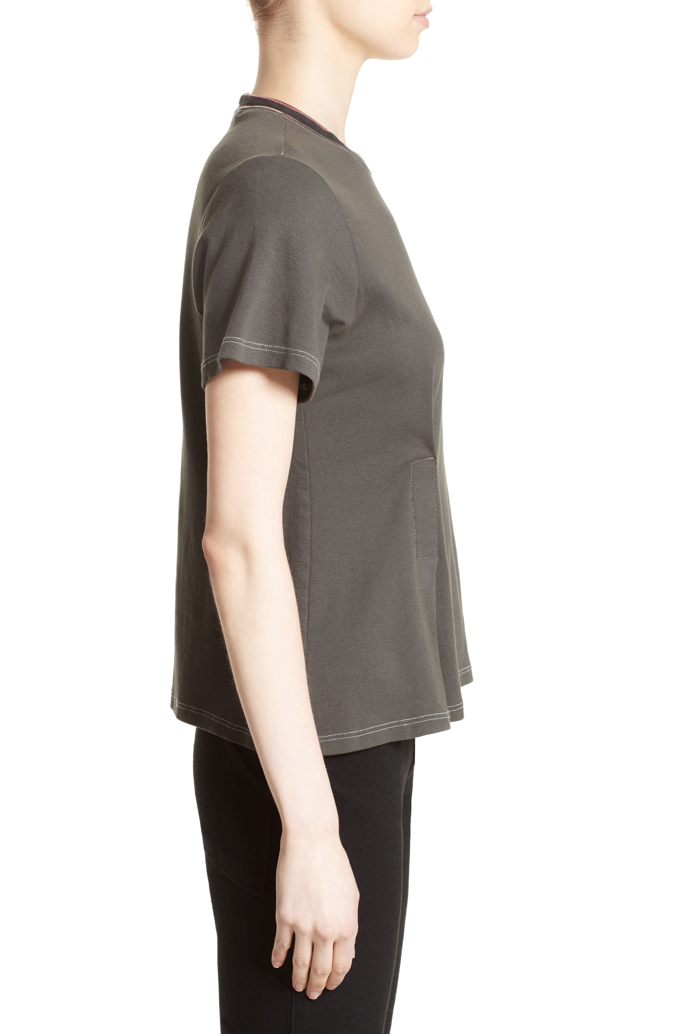 Top Stitch Tee,                             Alternate thumbnail 5, color,                             Off Black
