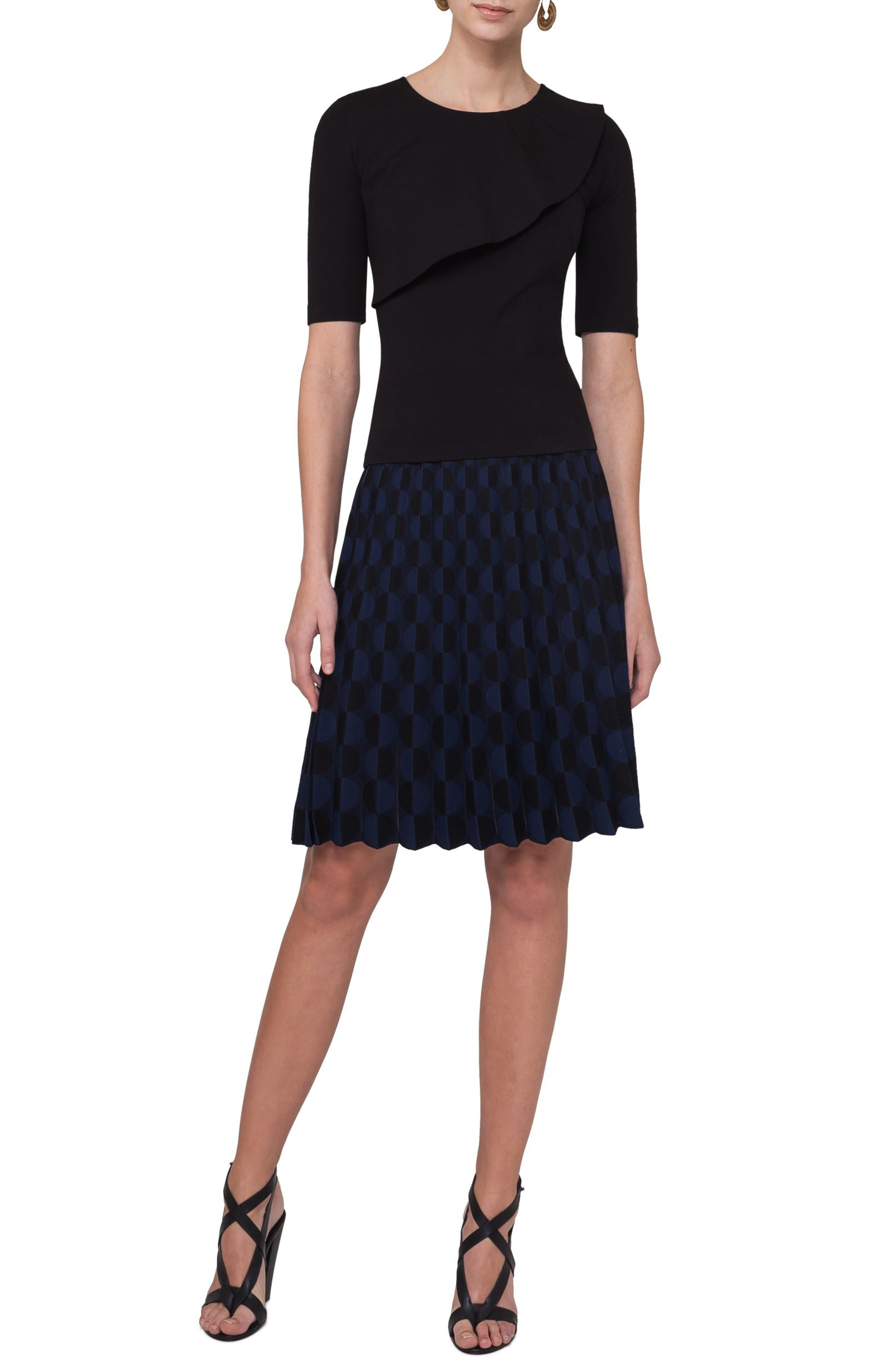 Contrast Dot Knit Pleated Skirt,                             Alternate thumbnail 3, color,                             Black/ Blue