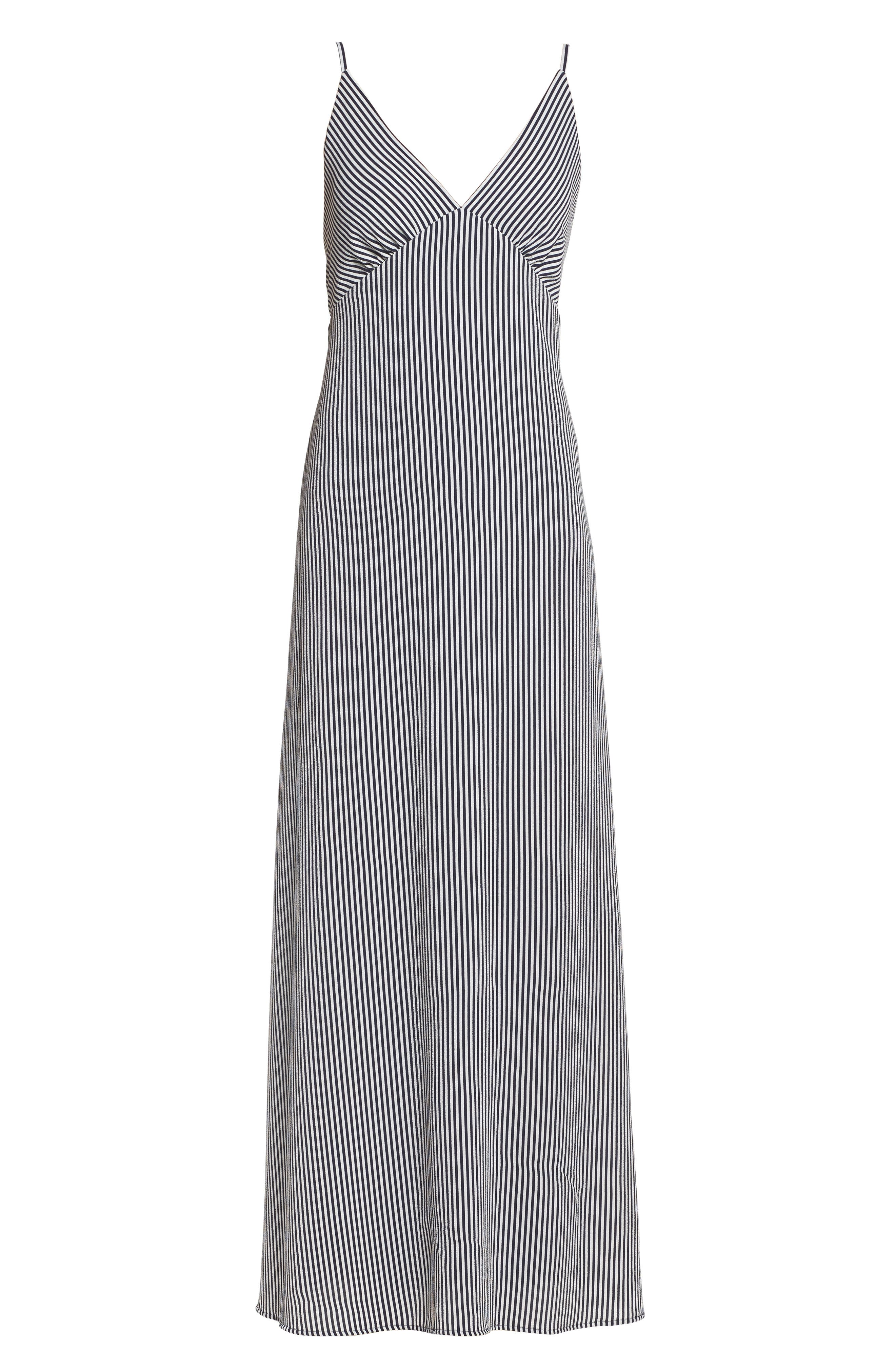 Stripe Stretch Maxi Dress,                             Alternate thumbnail 6, color,                             Navy