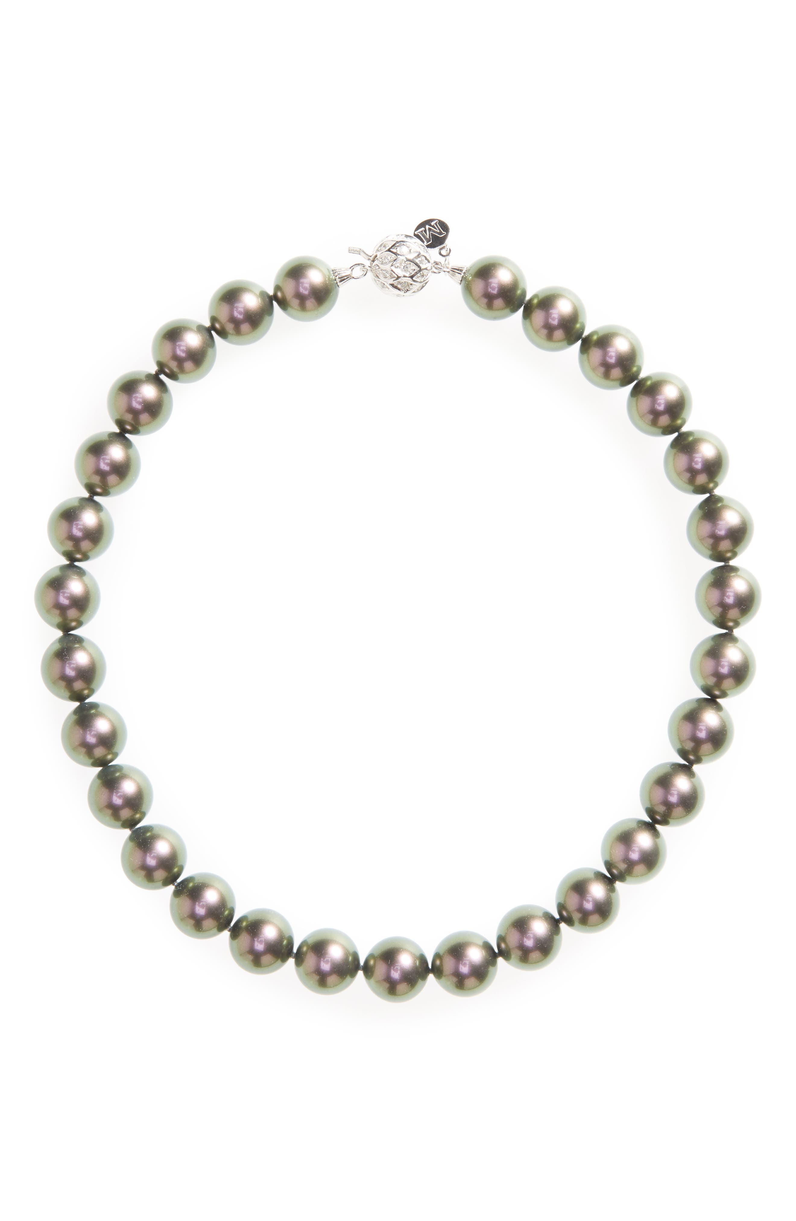 14mm Simulated Pearl Strand Necklace,                         Main,                         color, Grey