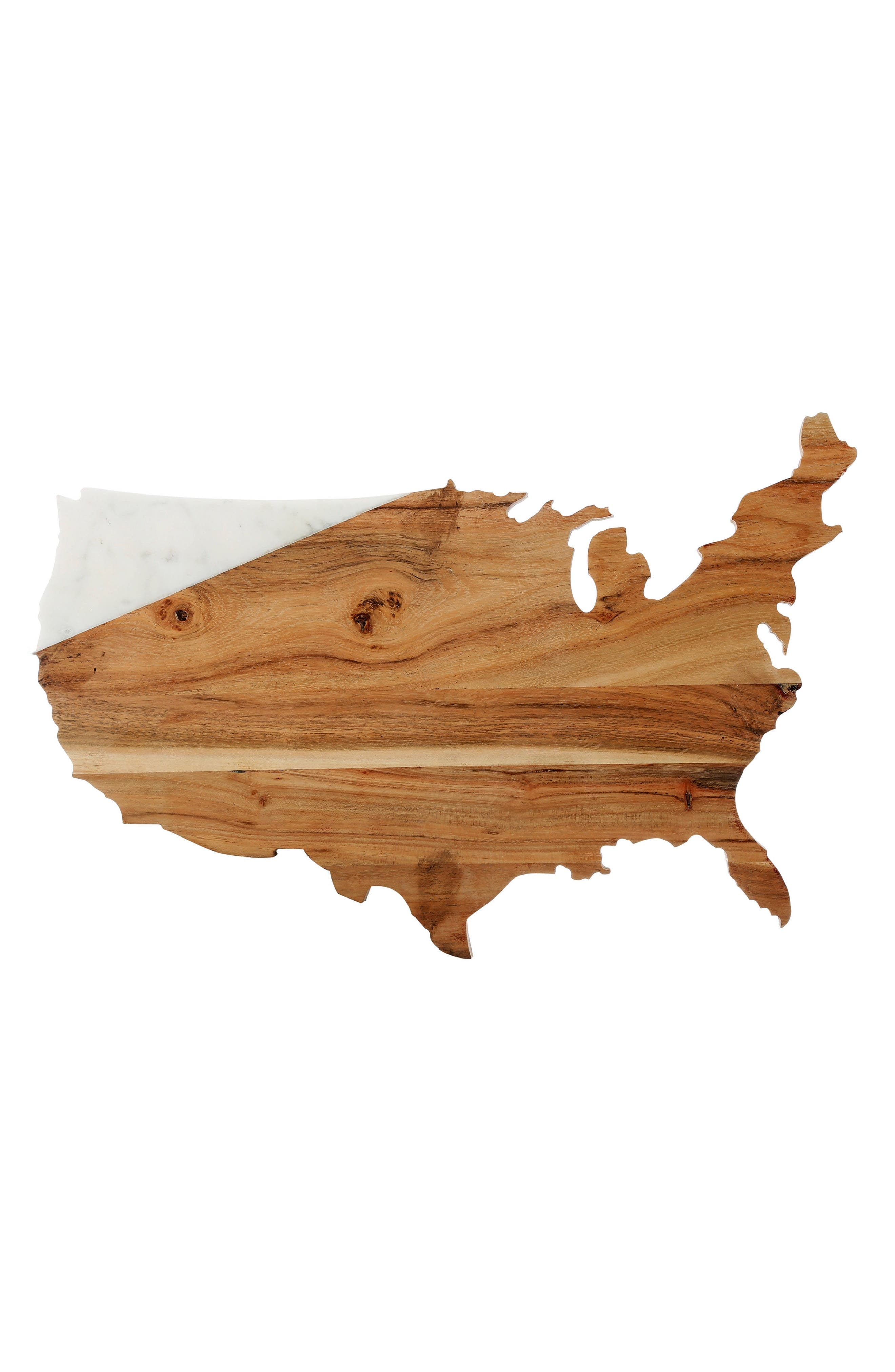 USA Marble & Wood Serving Board,                         Main,                         color, White/Brown