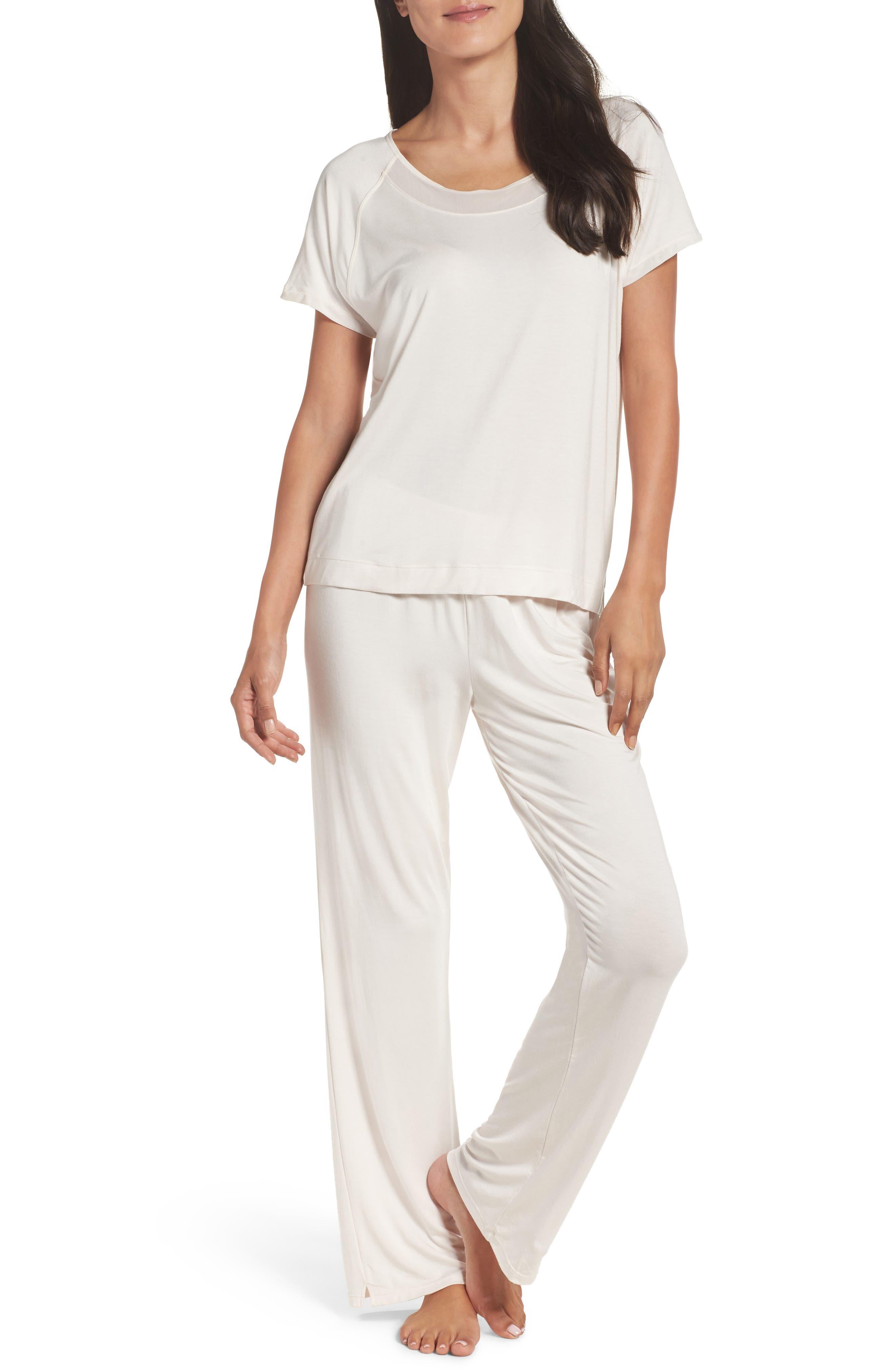 Stretch Modal Pajamas,                         Main,                         color, Cream