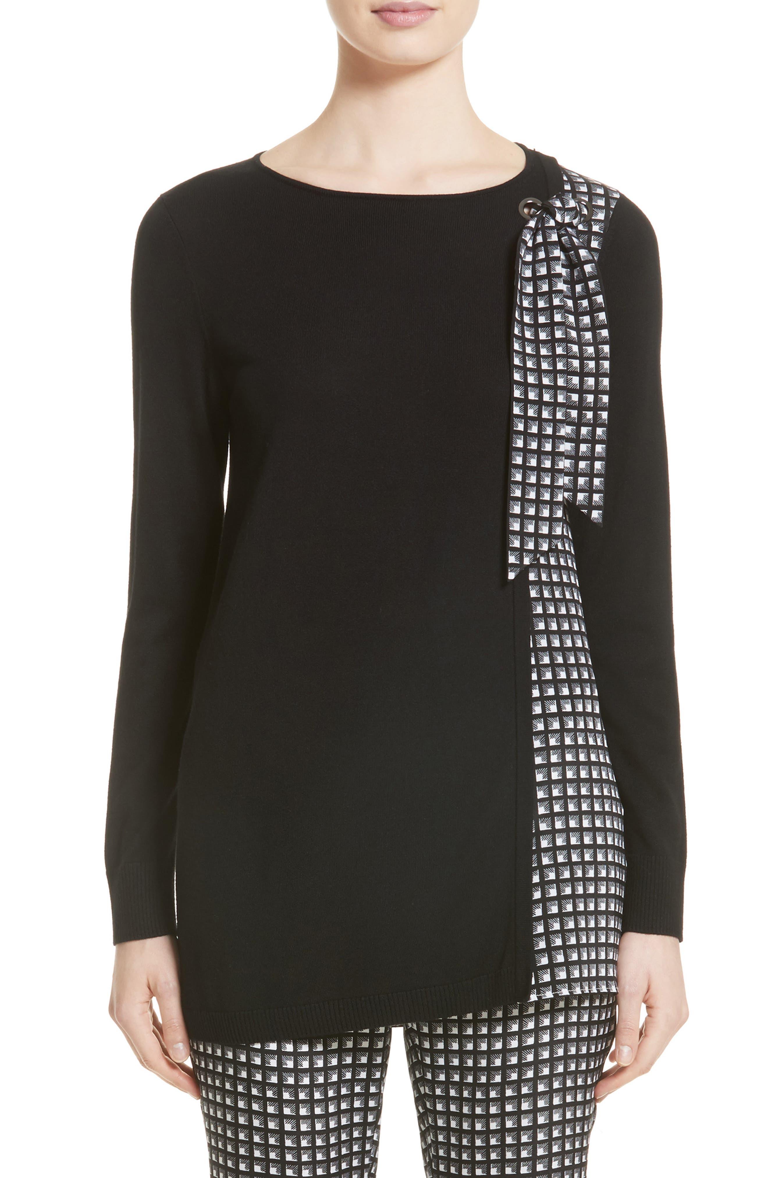 Asymmetrical Jersey Knit Sweater,                         Main,                         color, Caviar/ Bianco