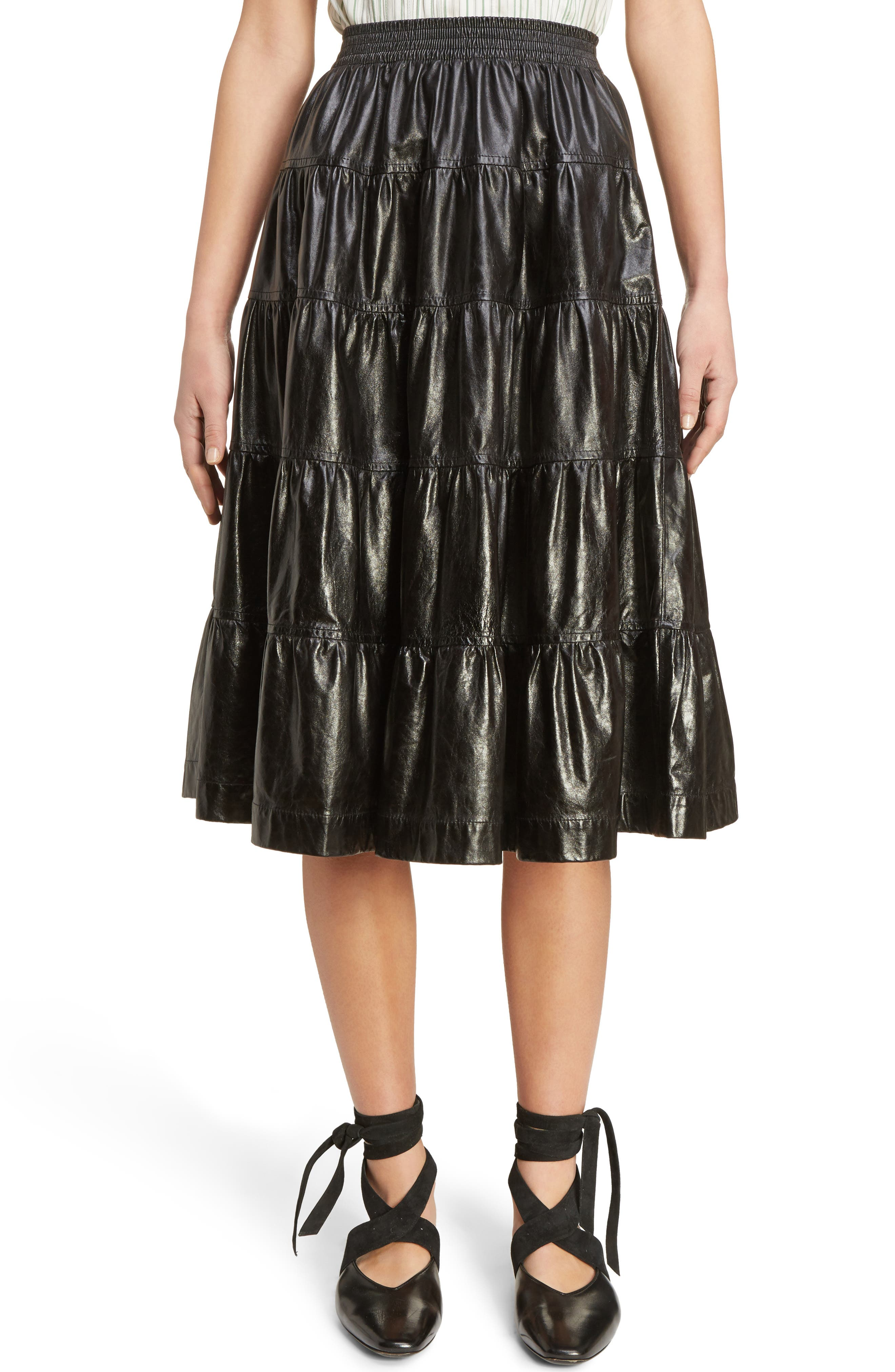 J.W.ANDERSON Tiered Leather Skirt