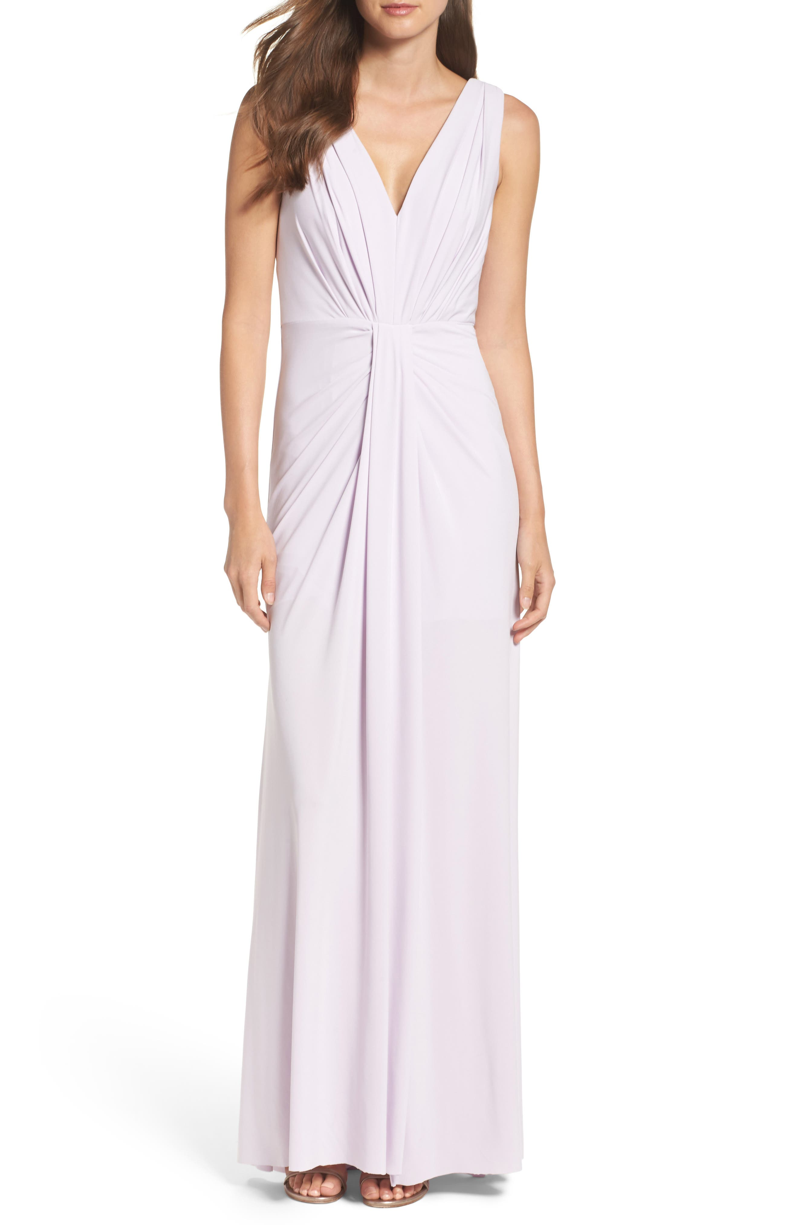 Main Image - Vera Wang Jersey Pleated Fit & Flare Gown