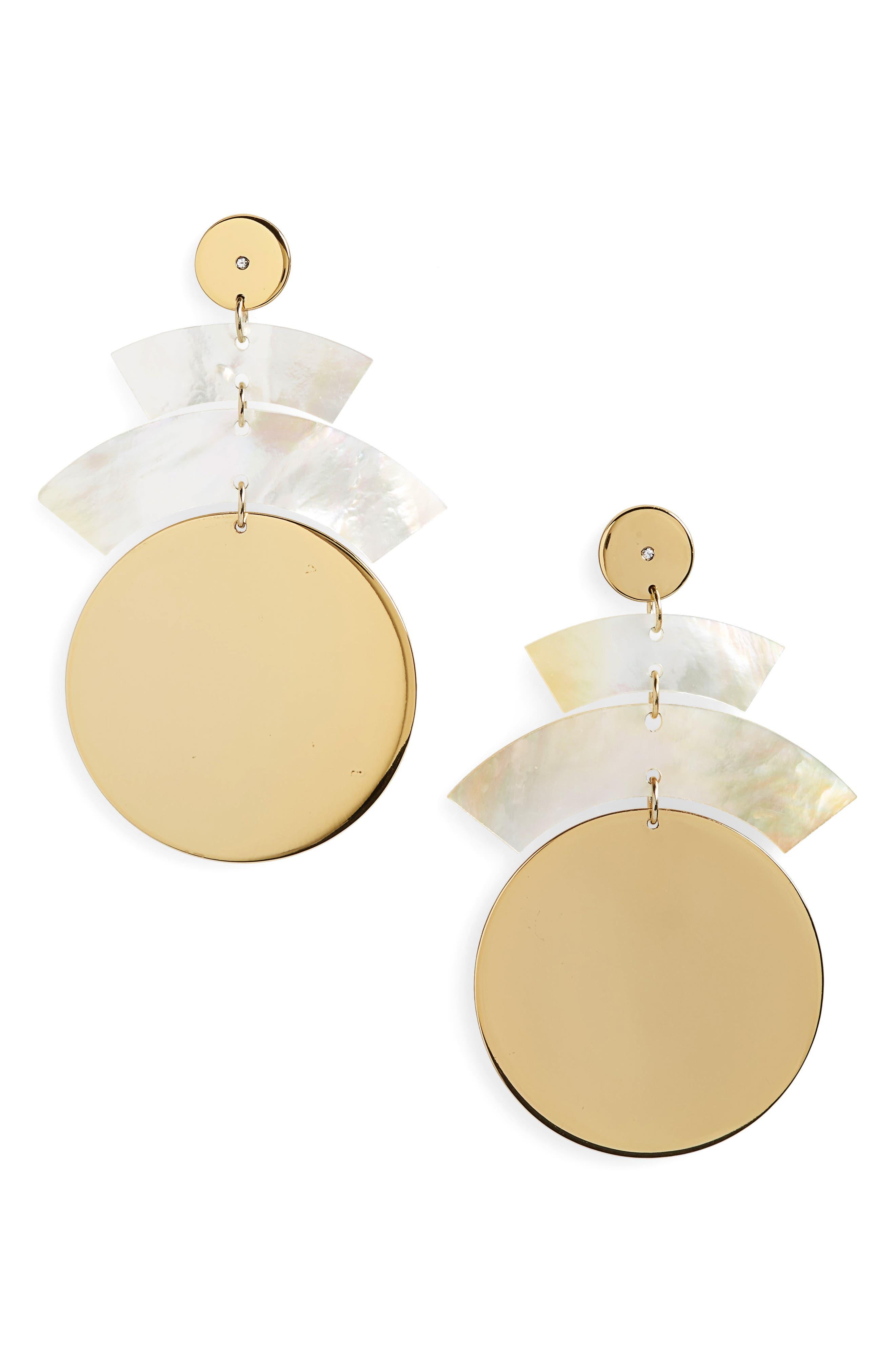 Rosa Terri Drop Earrings,                         Main,                         color, Mother Of Pearl / Gold