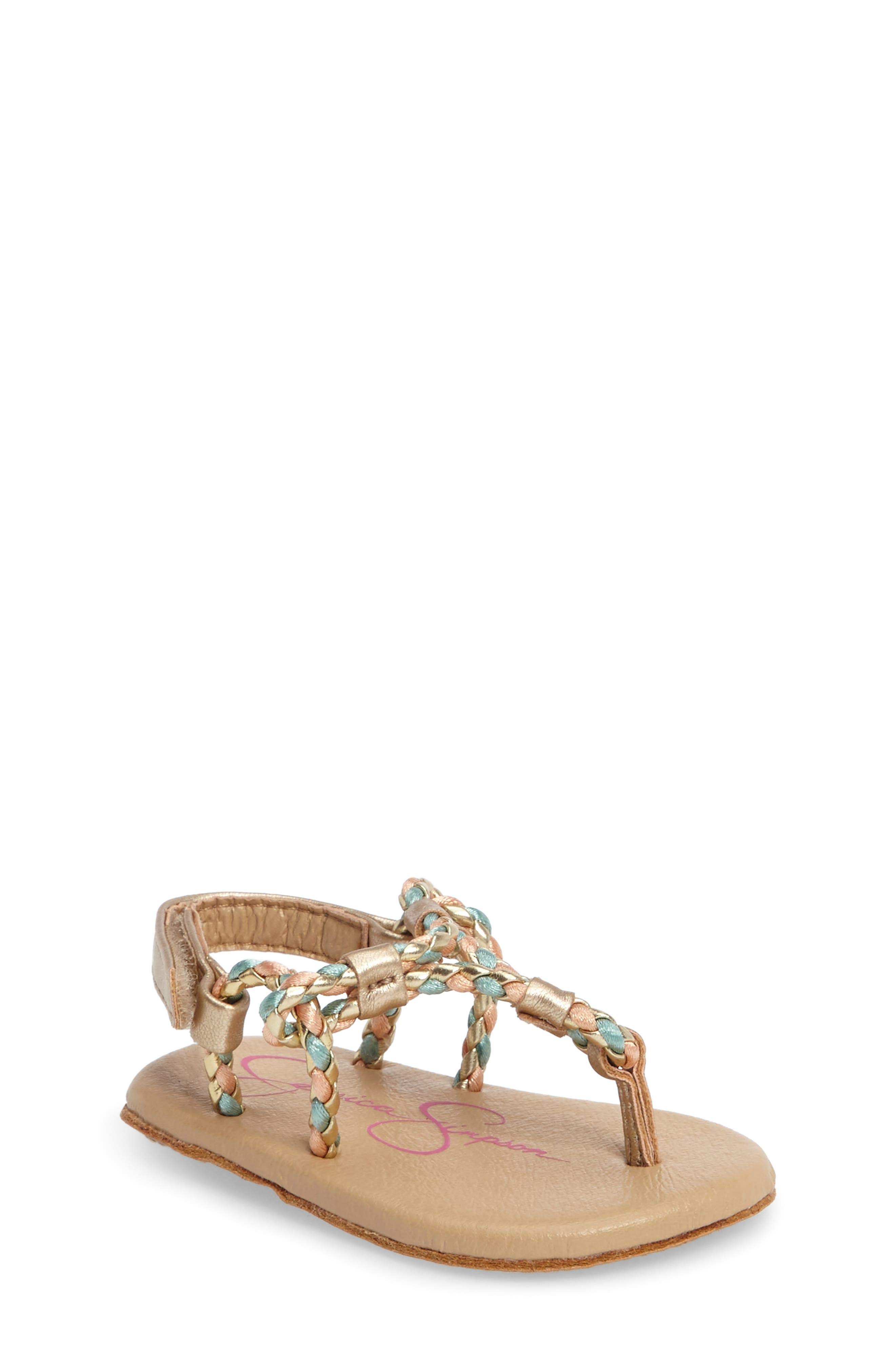 Swizzle Thong Sandal,                         Main,                         color, Gold Faux Leather