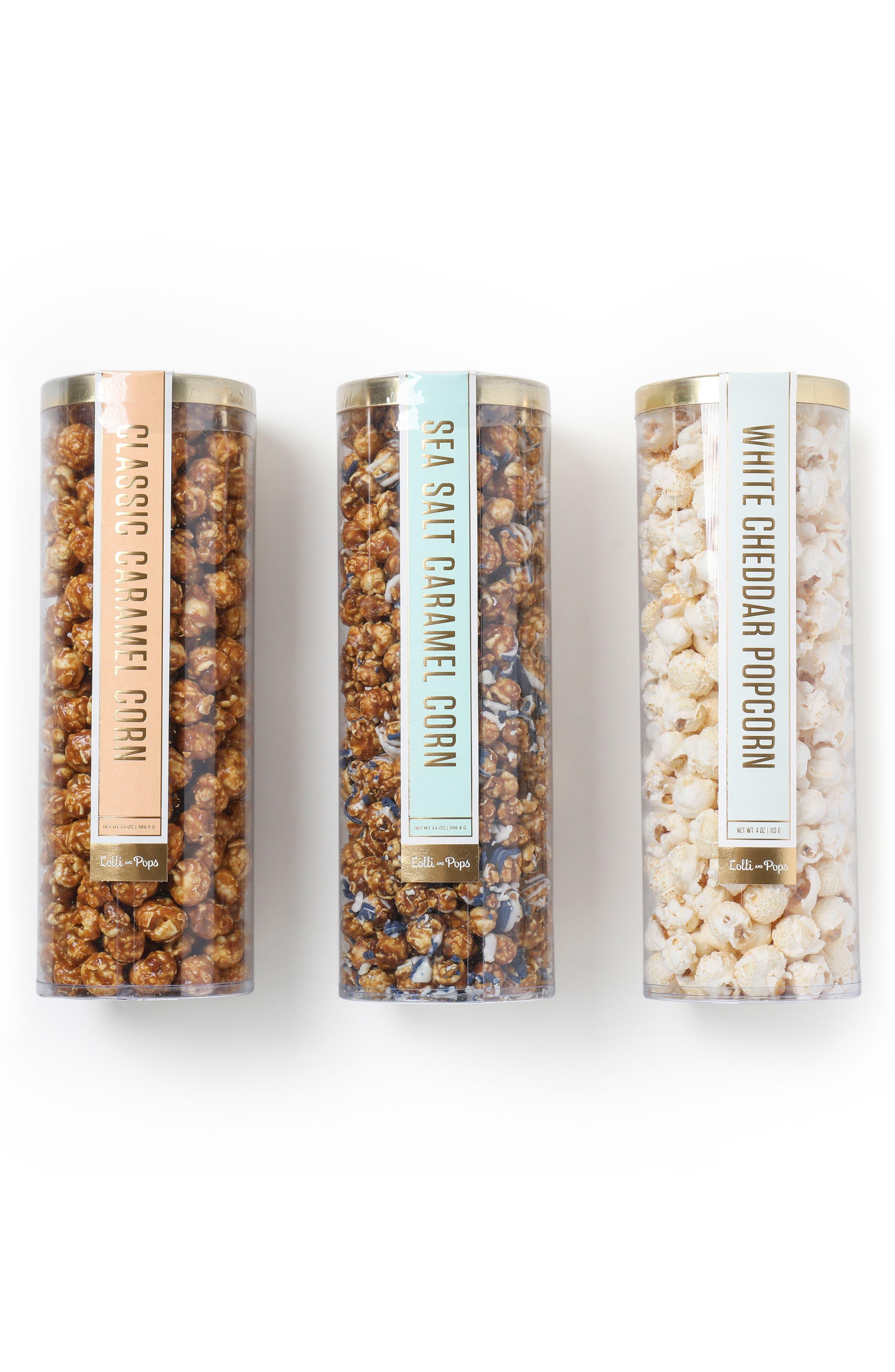 Set of 3 Popcorn Tubes,                         Main,                         color, Blue