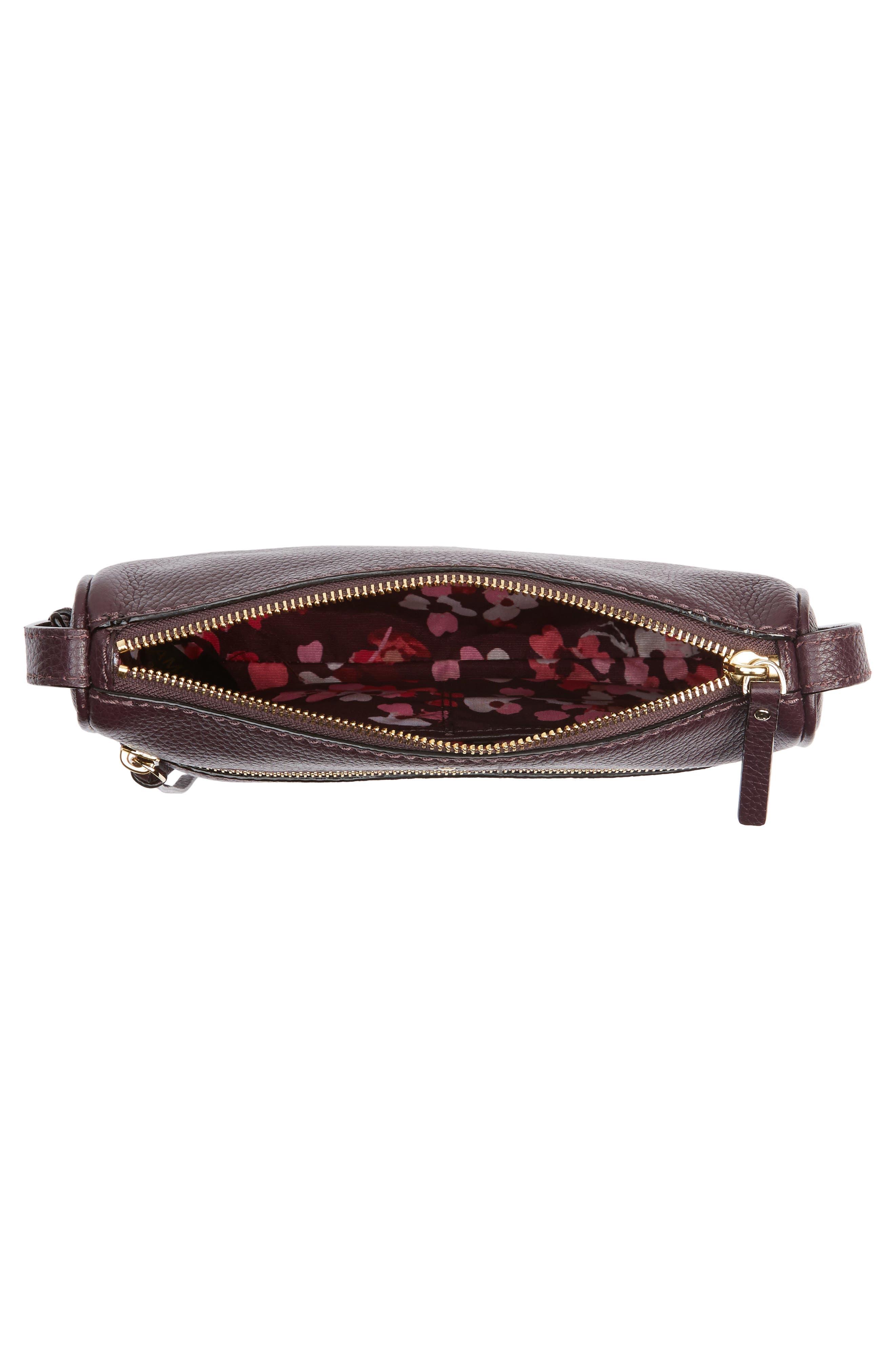 young lane - cayli leather crossbody bag,                             Alternate thumbnail 4, color,                             Dark Mahogany