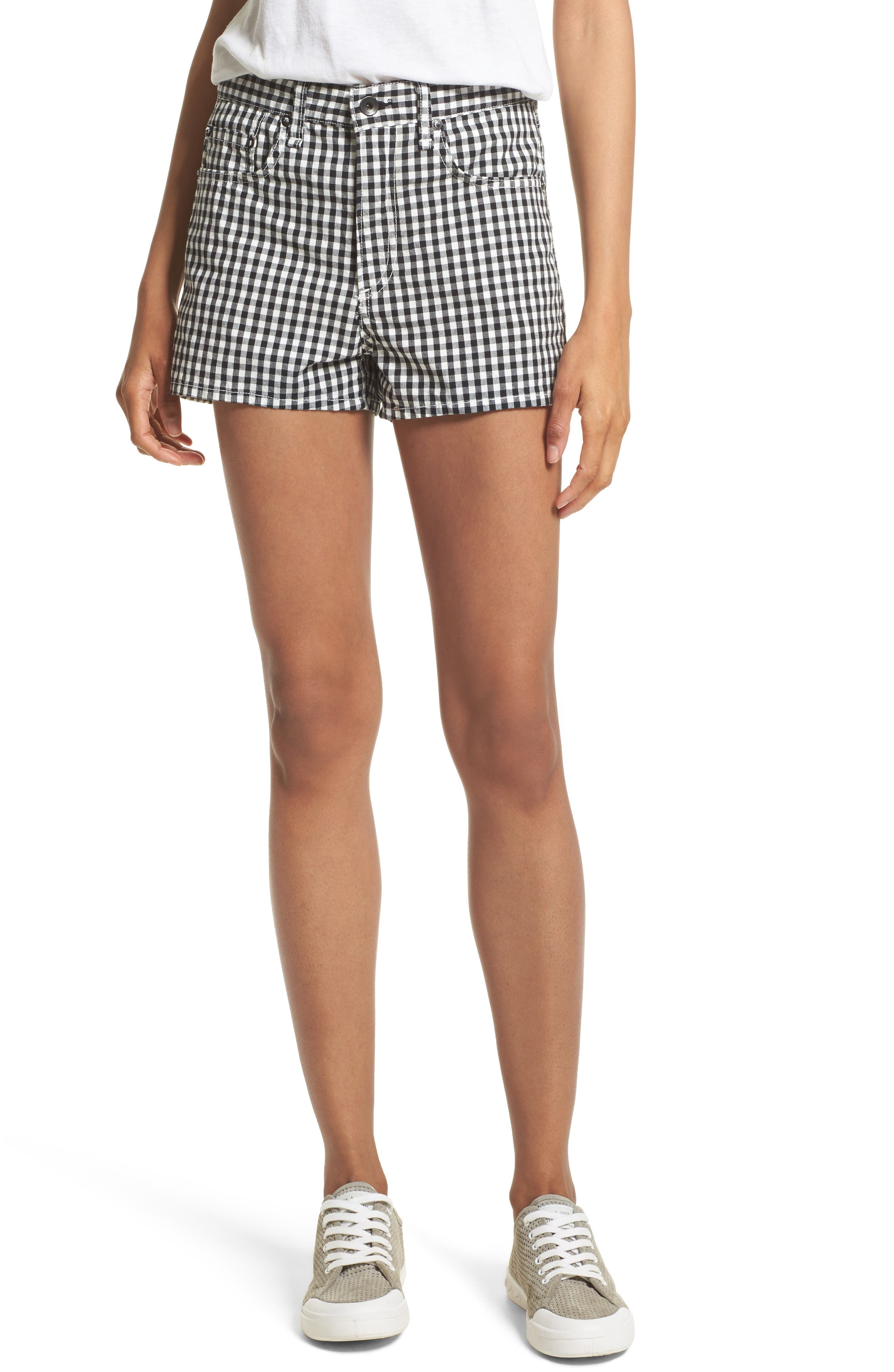 Justine Gingham Shorts,                             Main thumbnail 1, color,                             Gingham