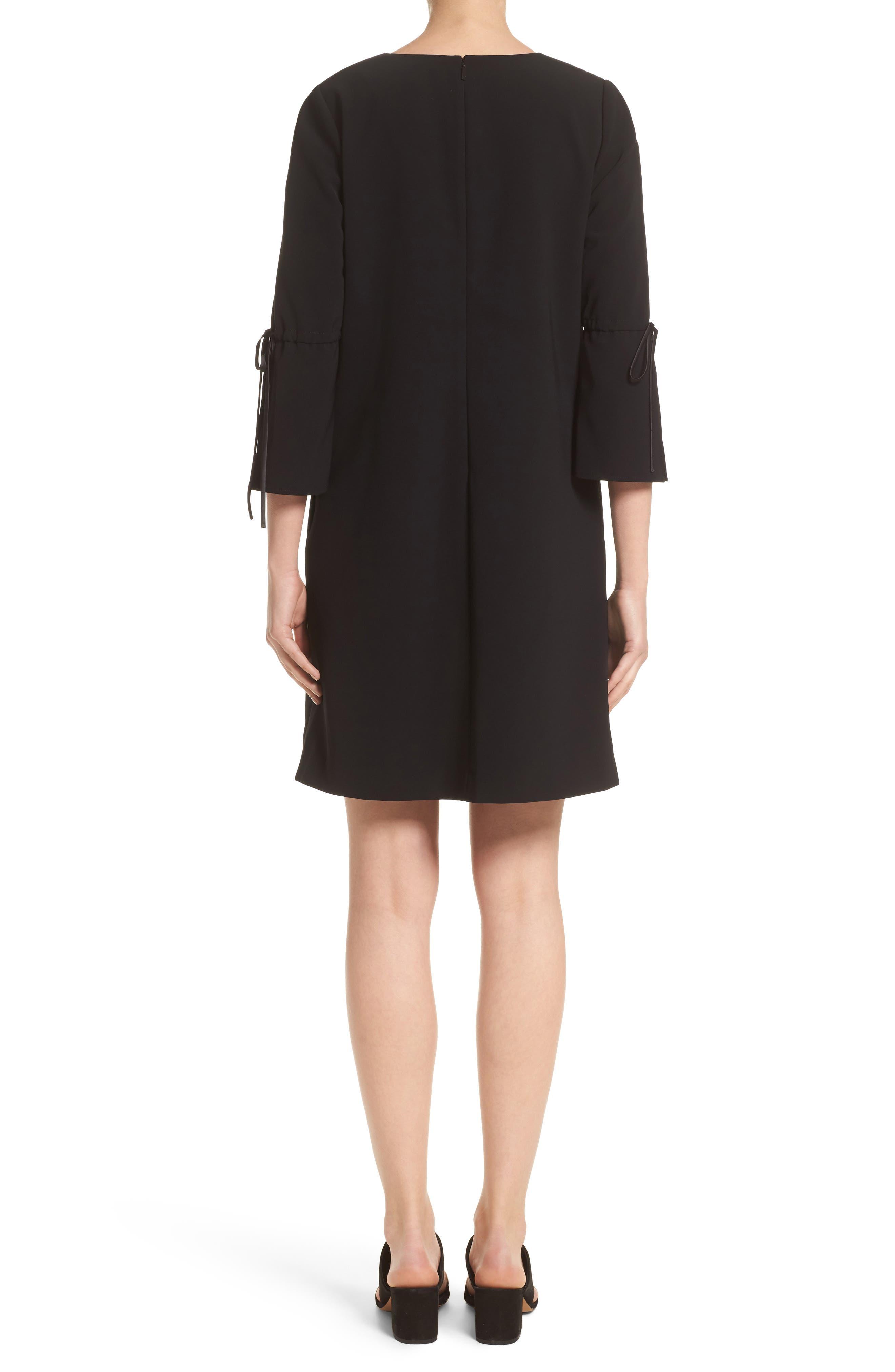 Deandra Tie Sleeve Shift Dress,                             Alternate thumbnail 2, color,                             Black