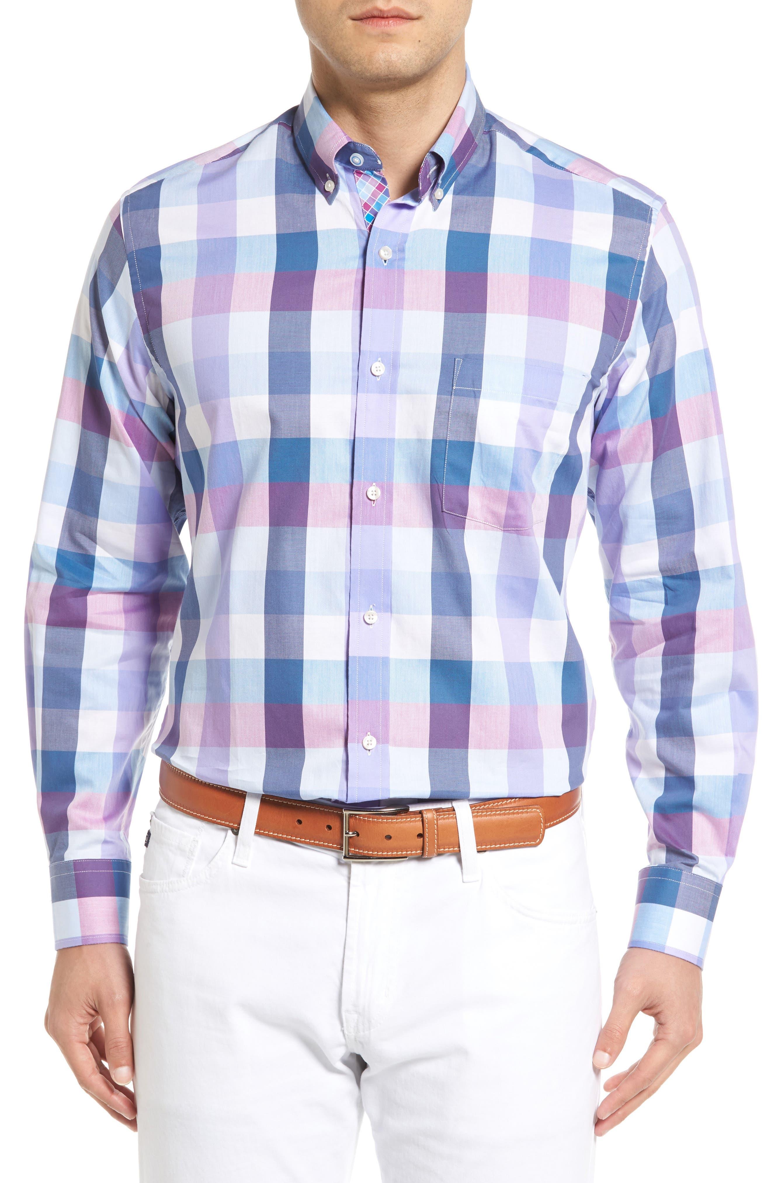 Accona Regular Fit Buffalo Check Sport Shirt,                         Main,                         color, Light Blue