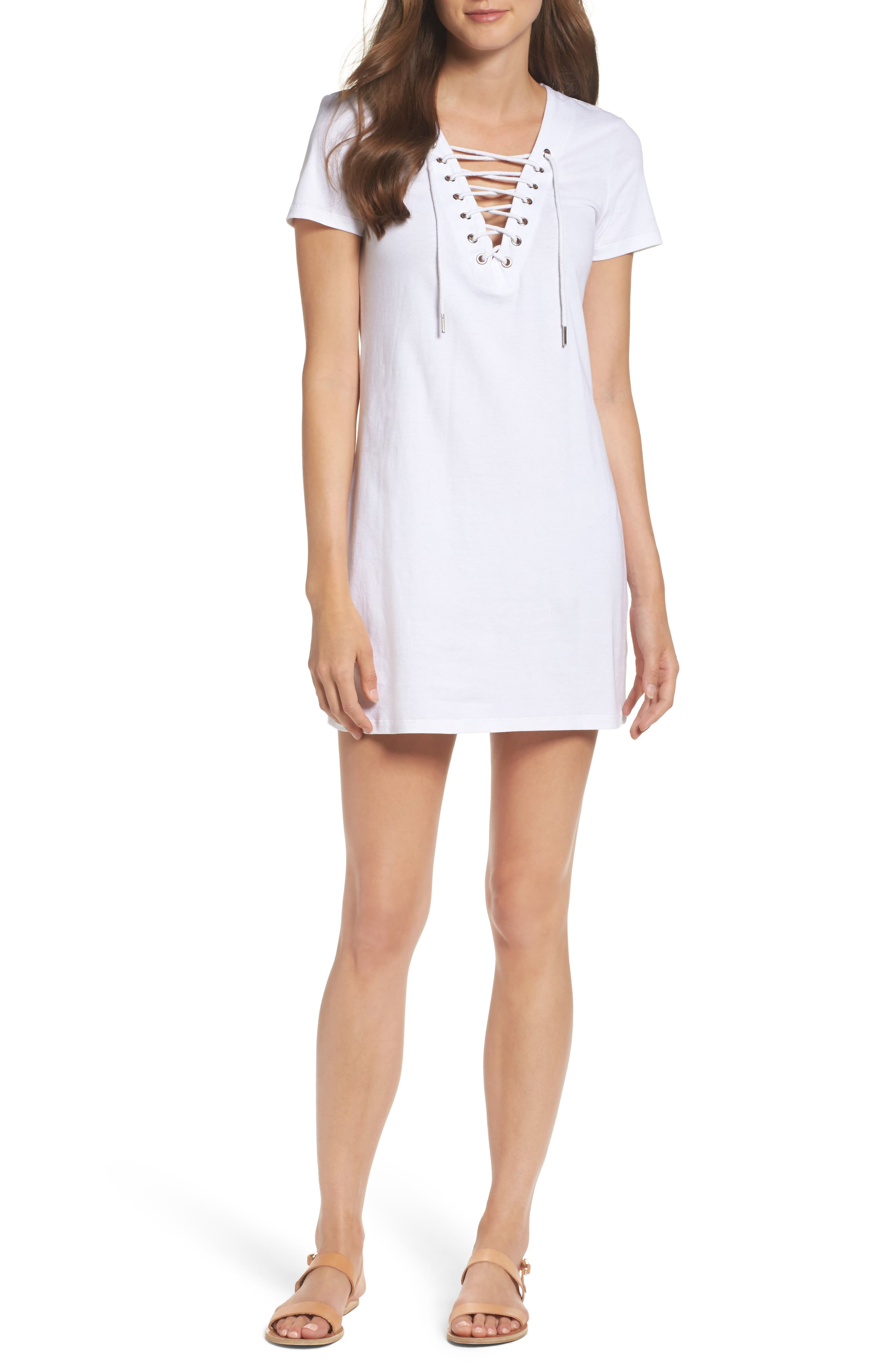 Lace-Up Shirtdress,                         Main,                         color, Orchid White