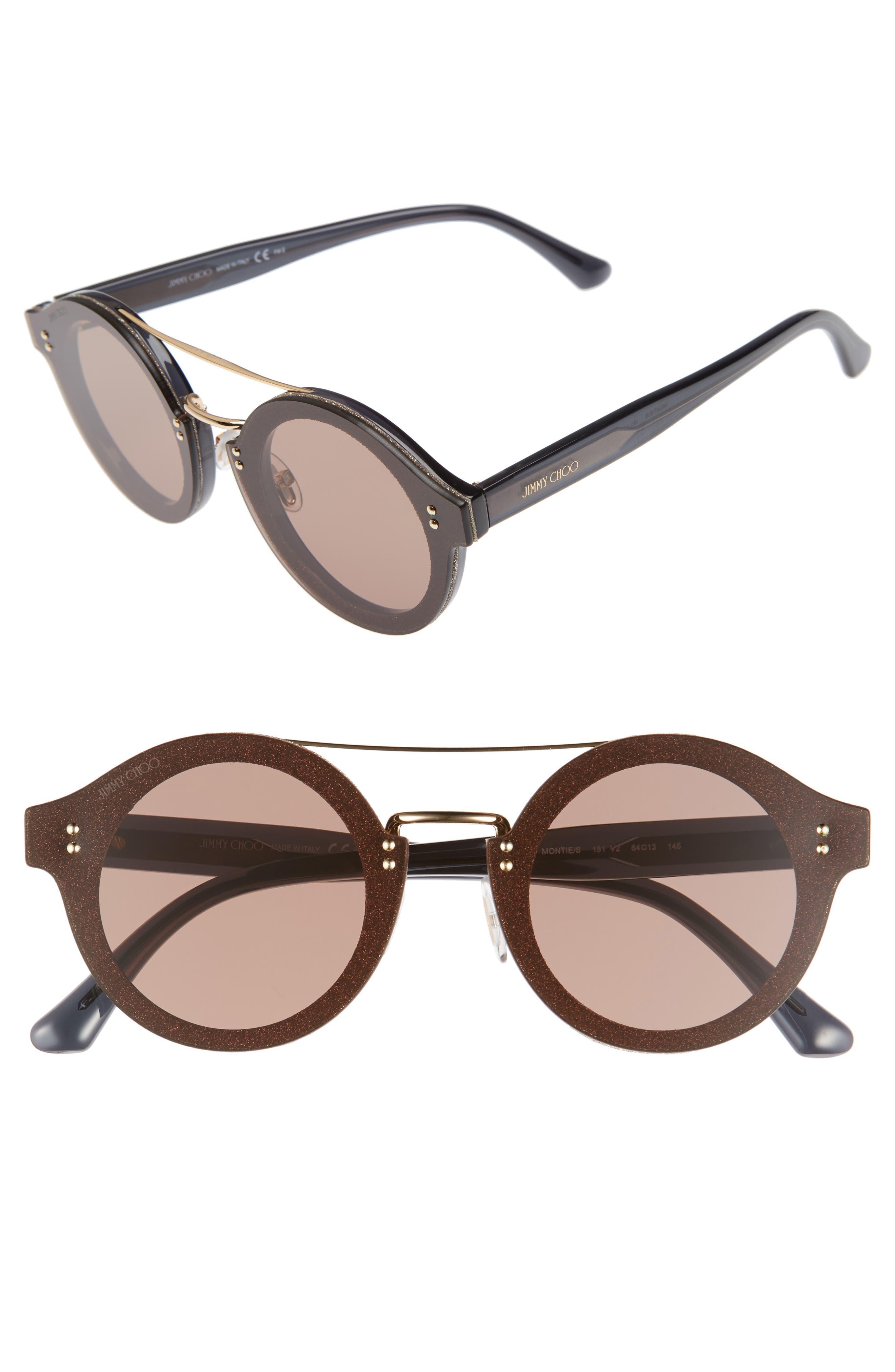 Monties 64mm Round Sunglasses,                         Main,                         color, Dark Grey/ Glitter/ Gold