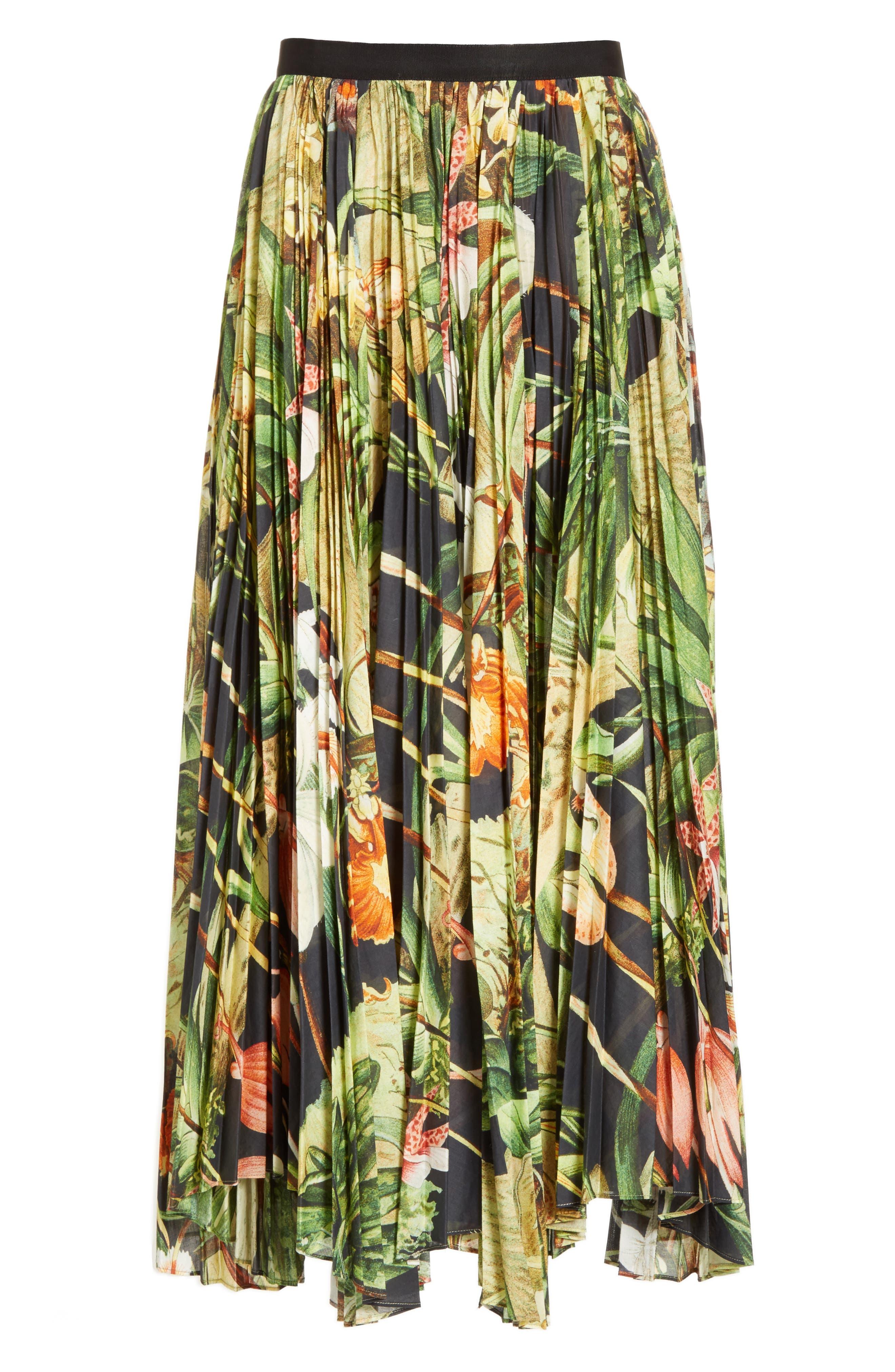 Print Cotton Voile Pleated Skirt,                             Alternate thumbnail 4, color,                             Black Orchid