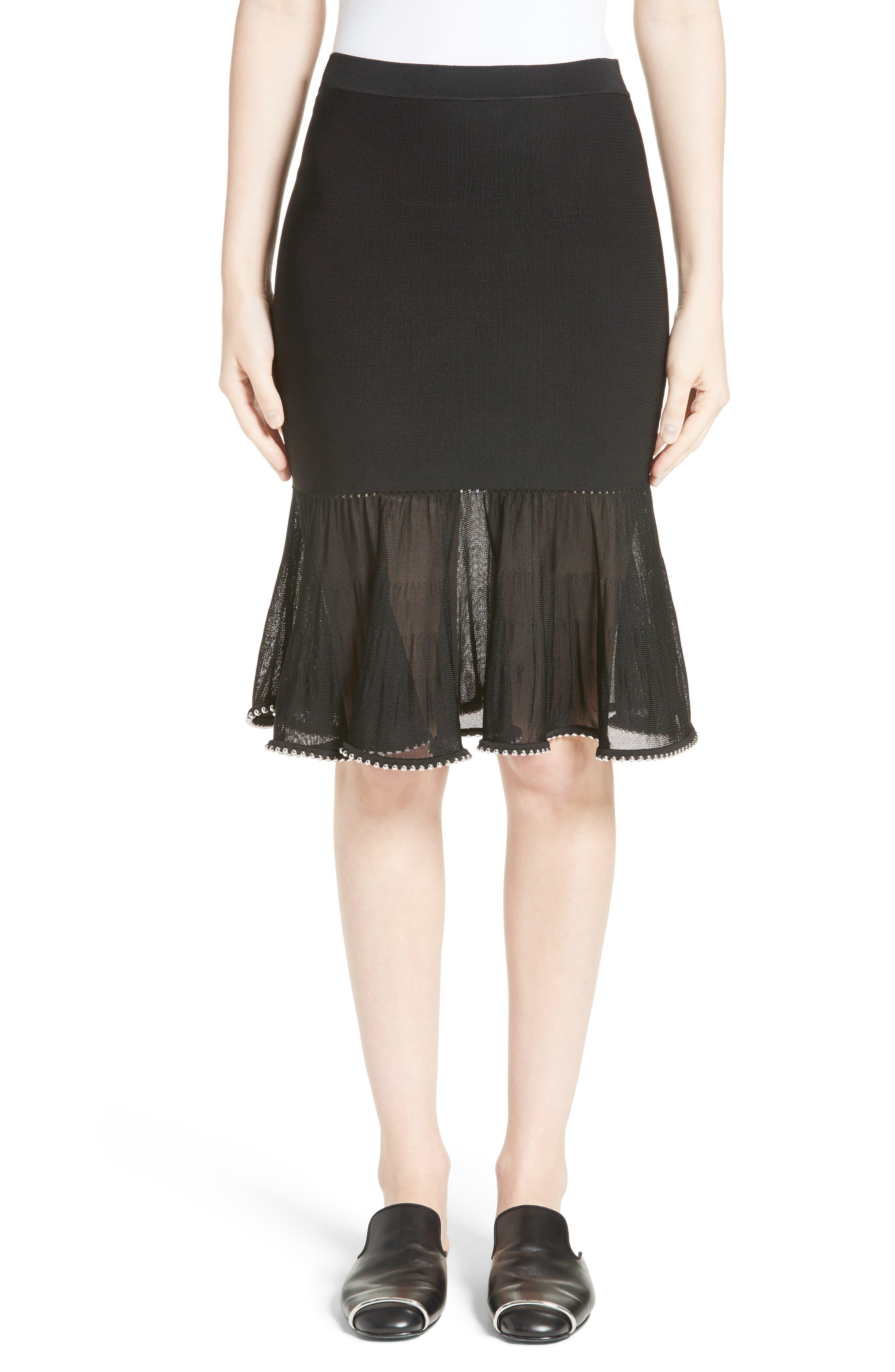 Chain Trim Ruffle Knit Skirt,                             Main thumbnail 1, color,                             Black