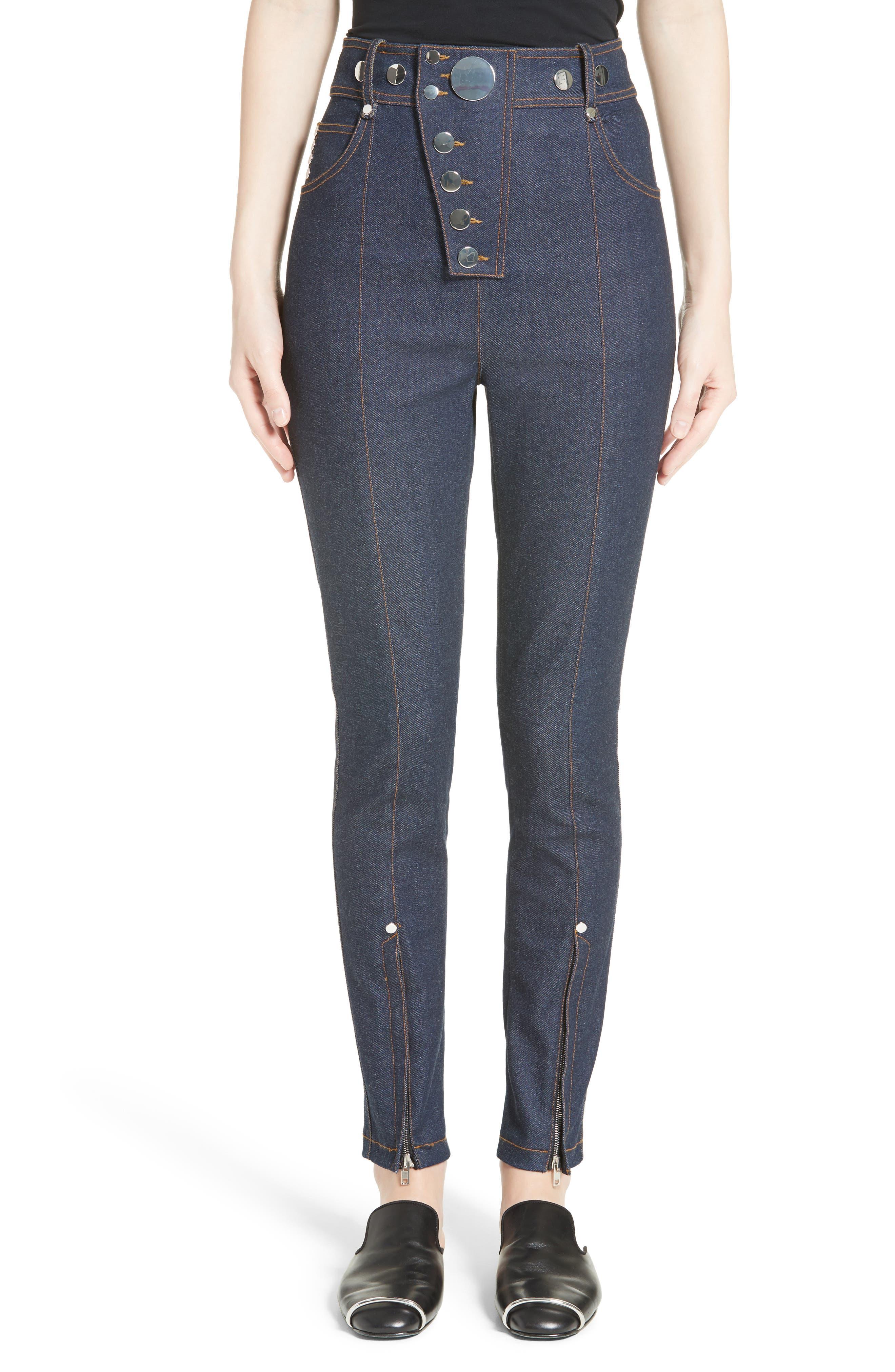 Alexander Wang Snap High Waist Skinny Jeans (Navy)