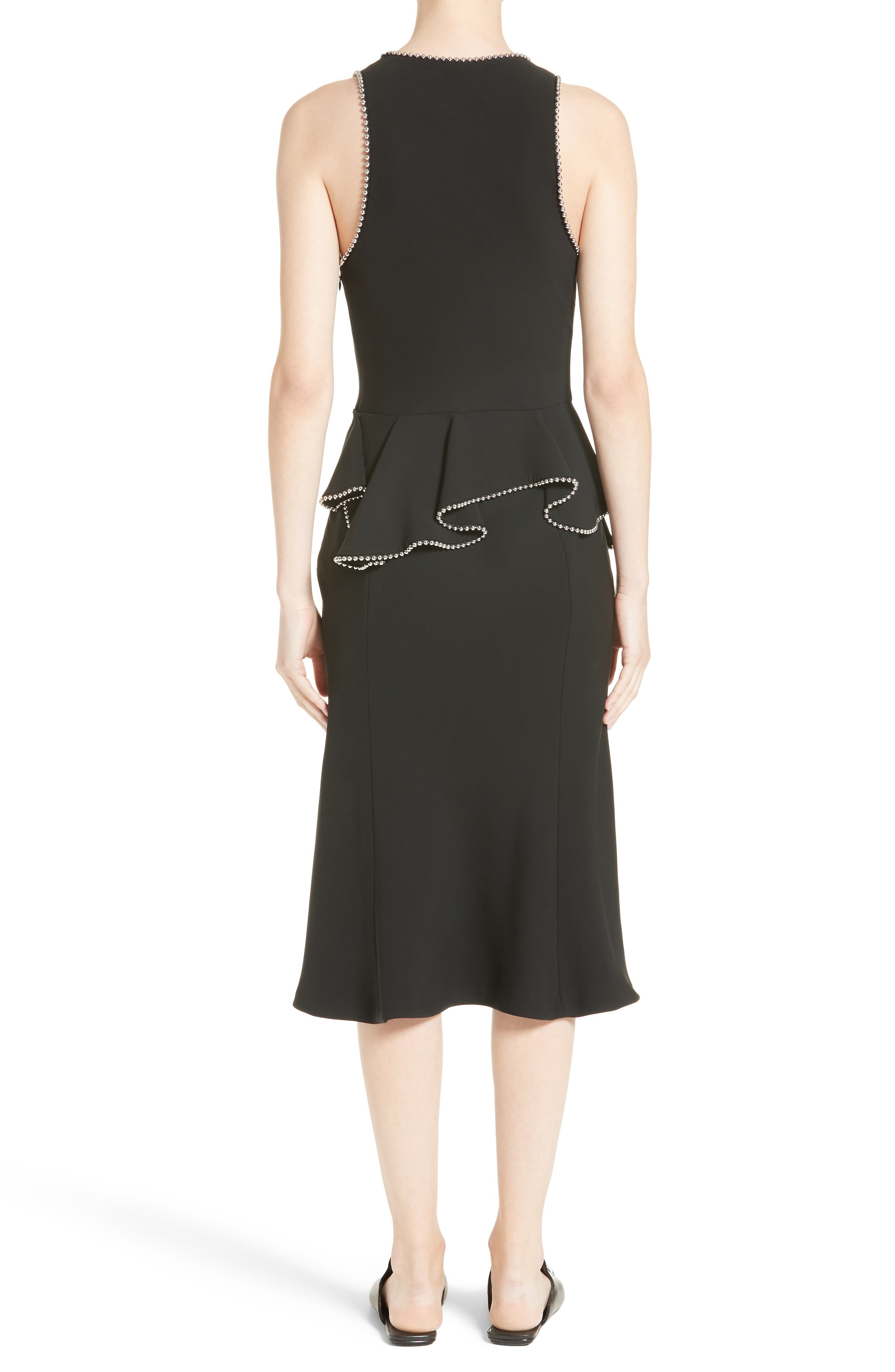Chain Trim Silk Ruffle Dress,                             Alternate thumbnail 2, color,                             Onyx
