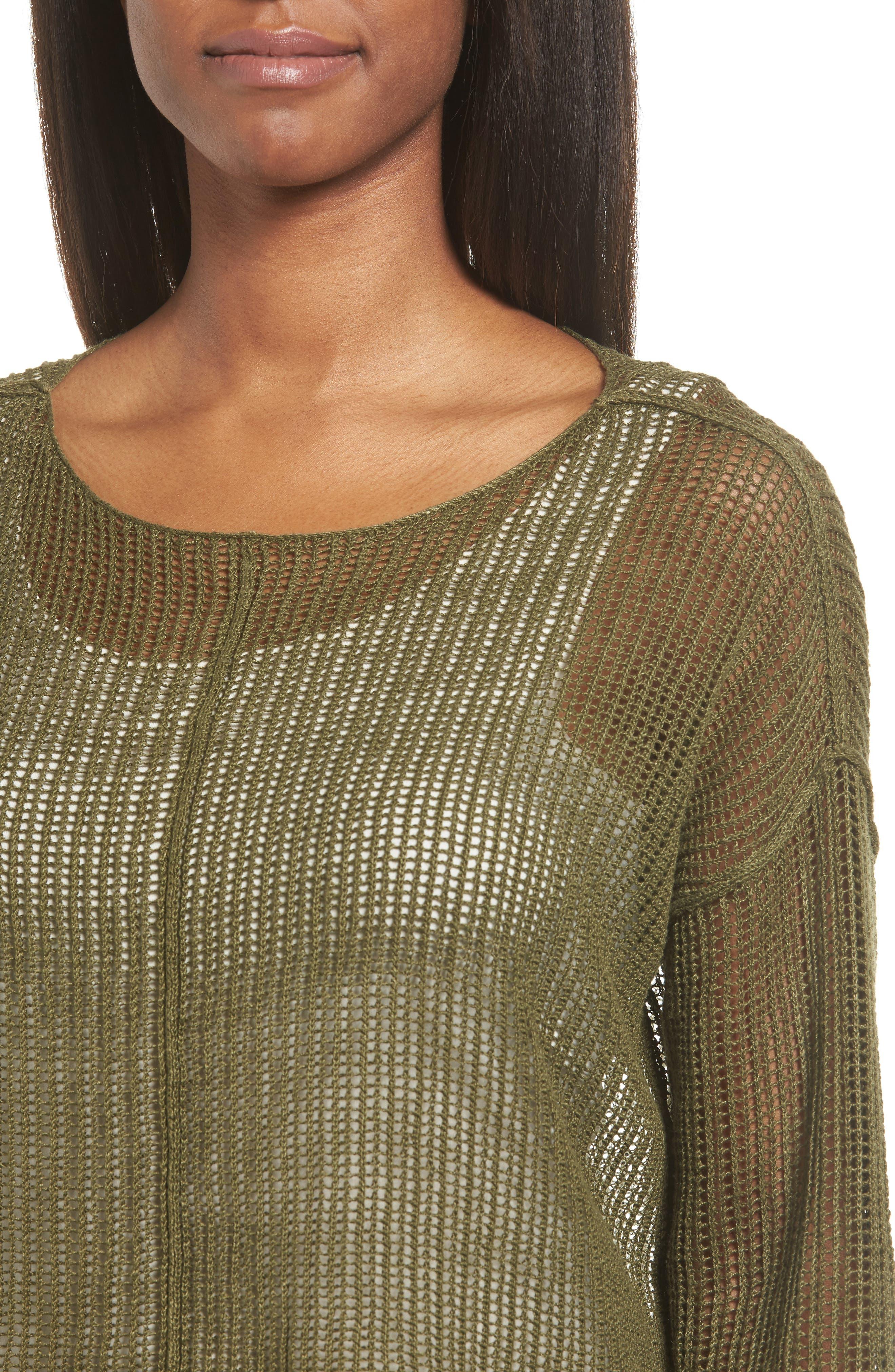 Alternate Image 4  - Eileen Fisher Organic Linen Crop Sweater (Regular & Petite)